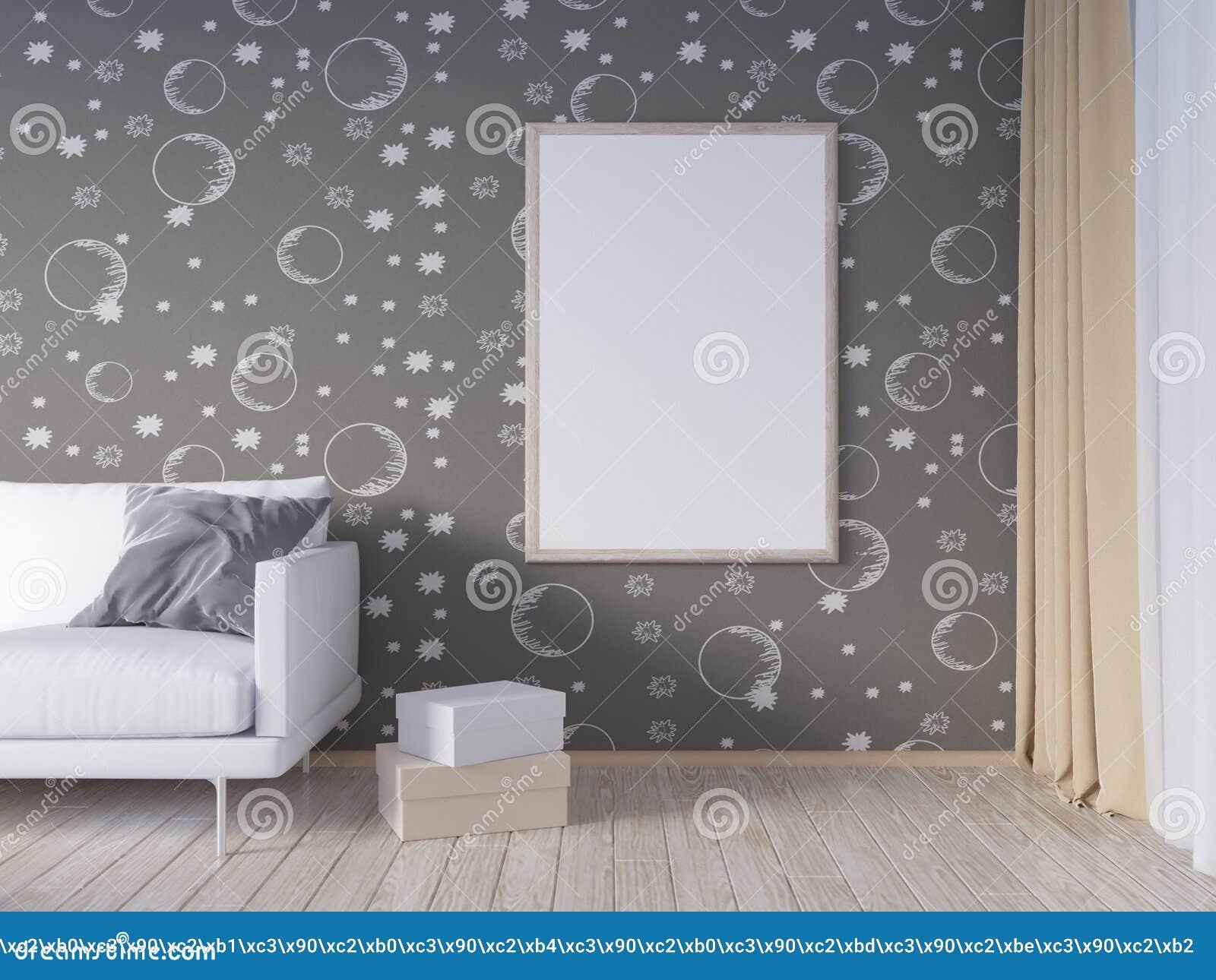 La Moquerie De Mur Intérieur De Salon Avec Le Sofa Gris De Tissu