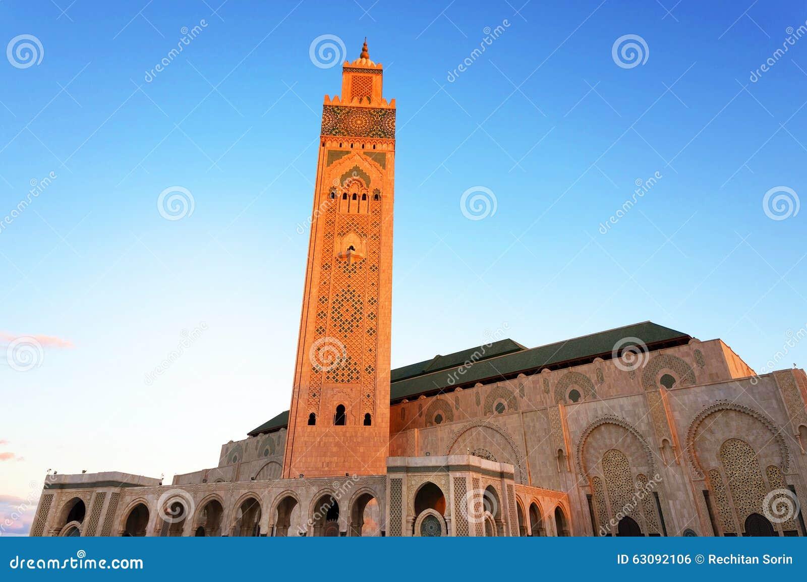 Download La mosquée de Hassan II photo stock. Image du architecture - 63092106