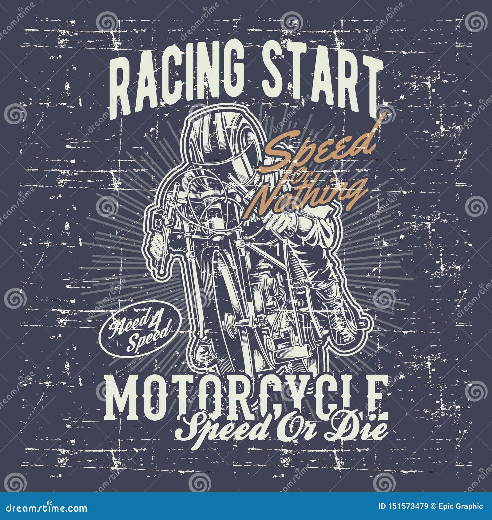 La motocicleta del vintage del estilo del Grunge que compite con gráficos de la tipografía da vector del dibujo