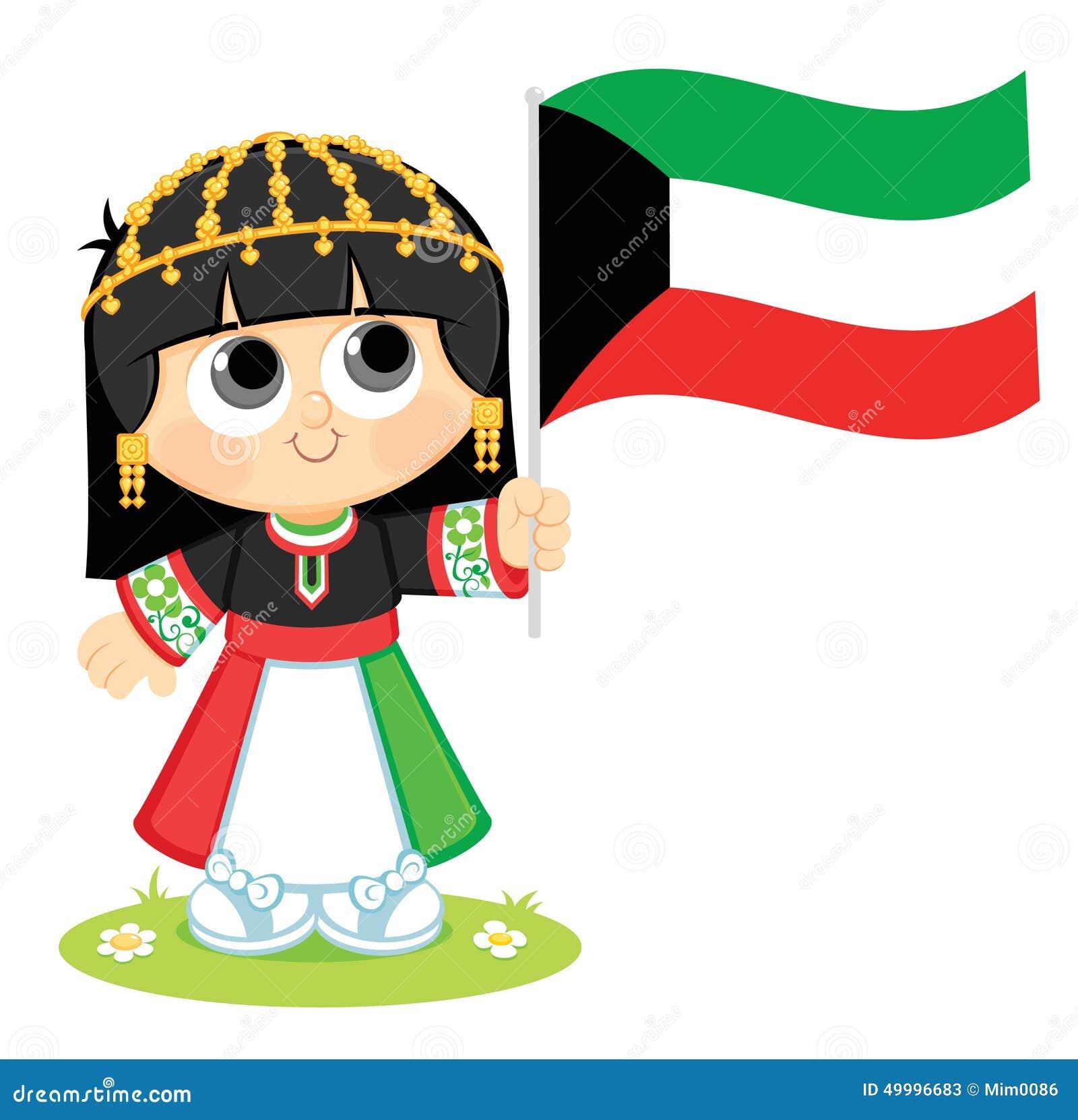 La muchacha celebra el día nacional de Kuwait