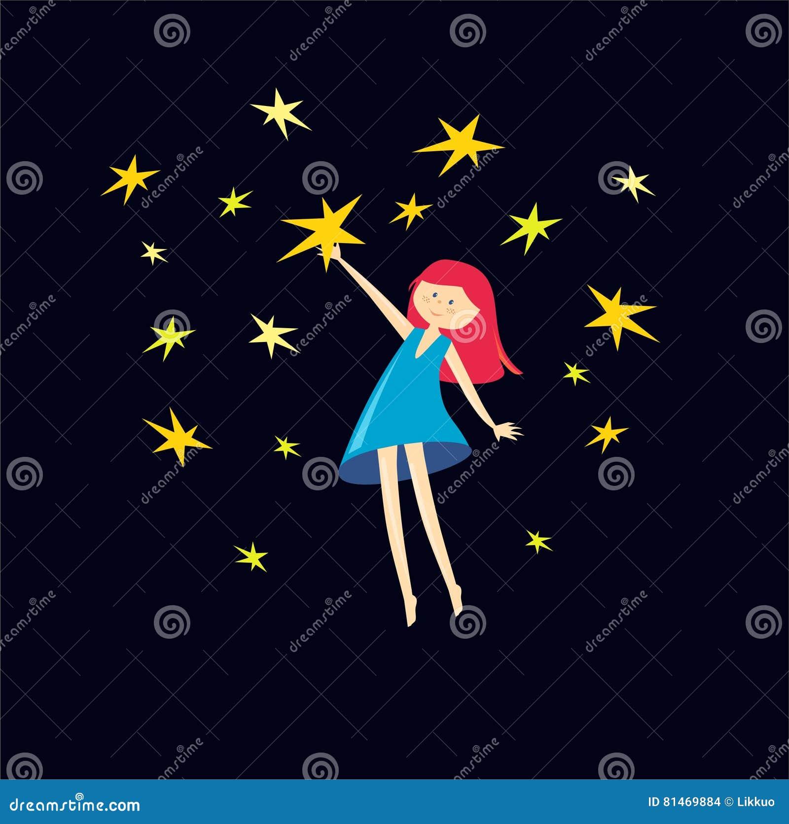 La Muchacha Coge Las Estrellas Ilustración Del Vector Muchacha