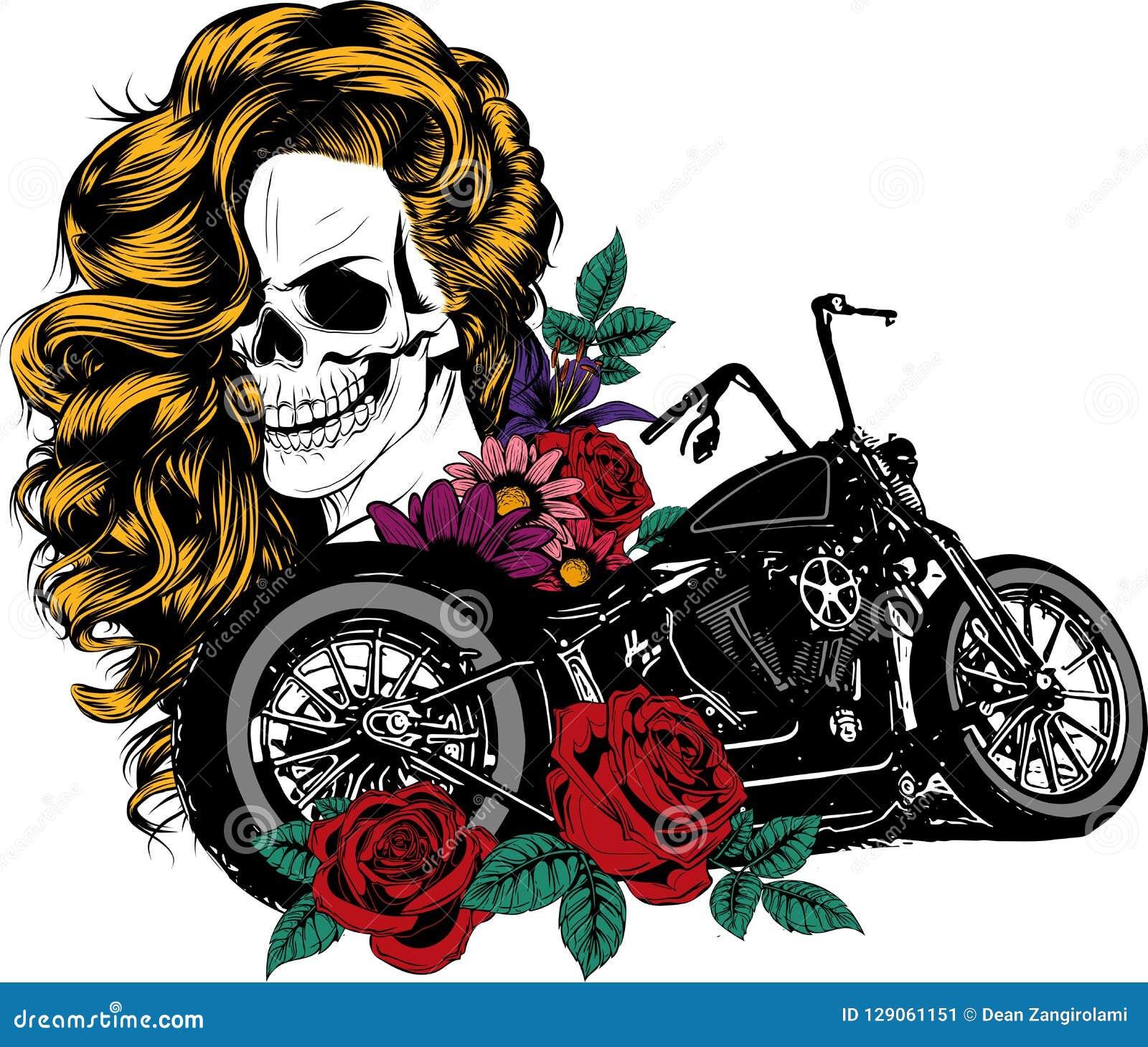 La muchacha con el esqueleto compone bosquejo dibujado mano del vector Ejemplo de la acción del retrato de la bruja de la mujer d