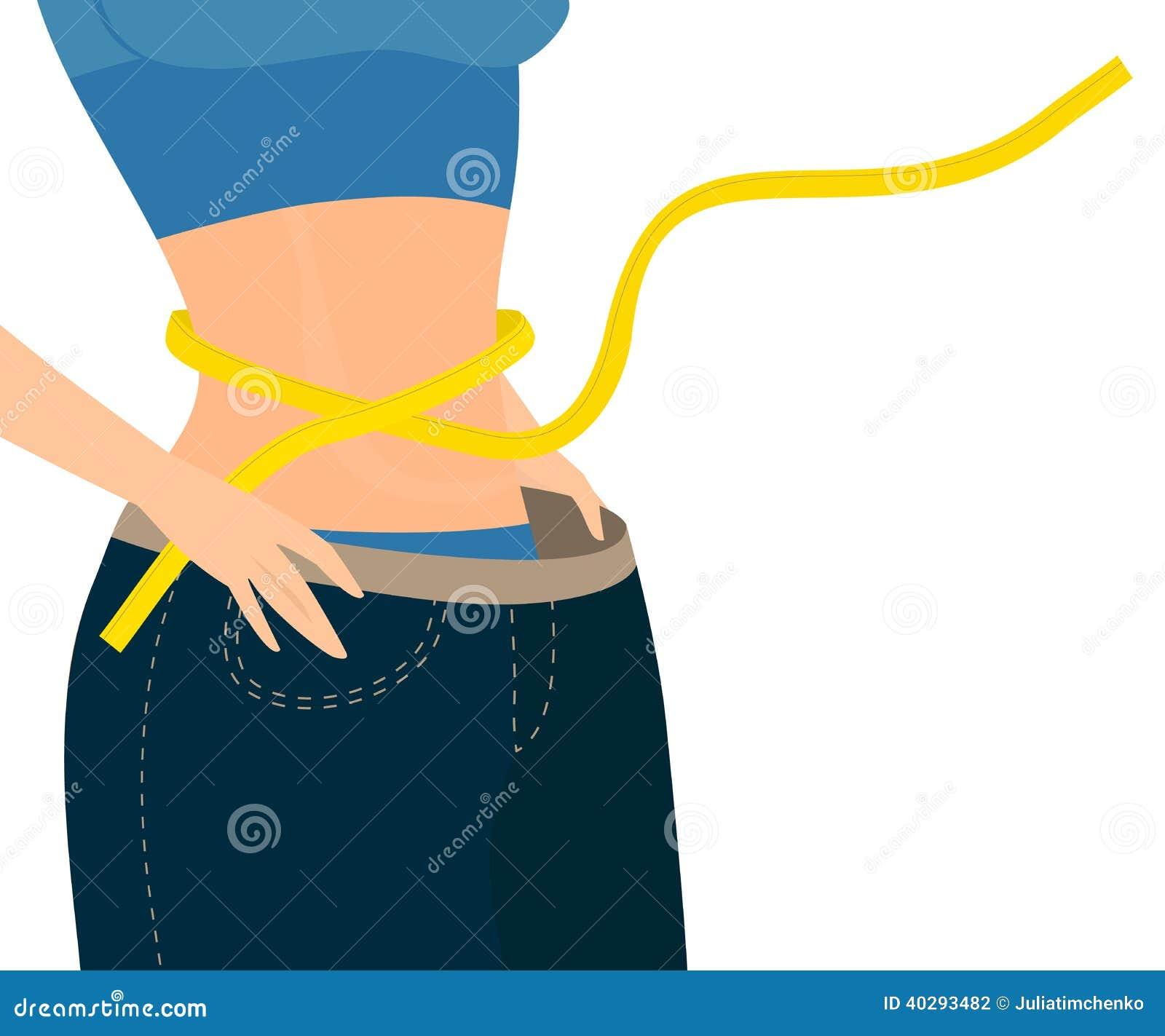 La muchacha con la cinta de la medida envolvió alrededor de sus demontrats de la cintura vaqueros enormes