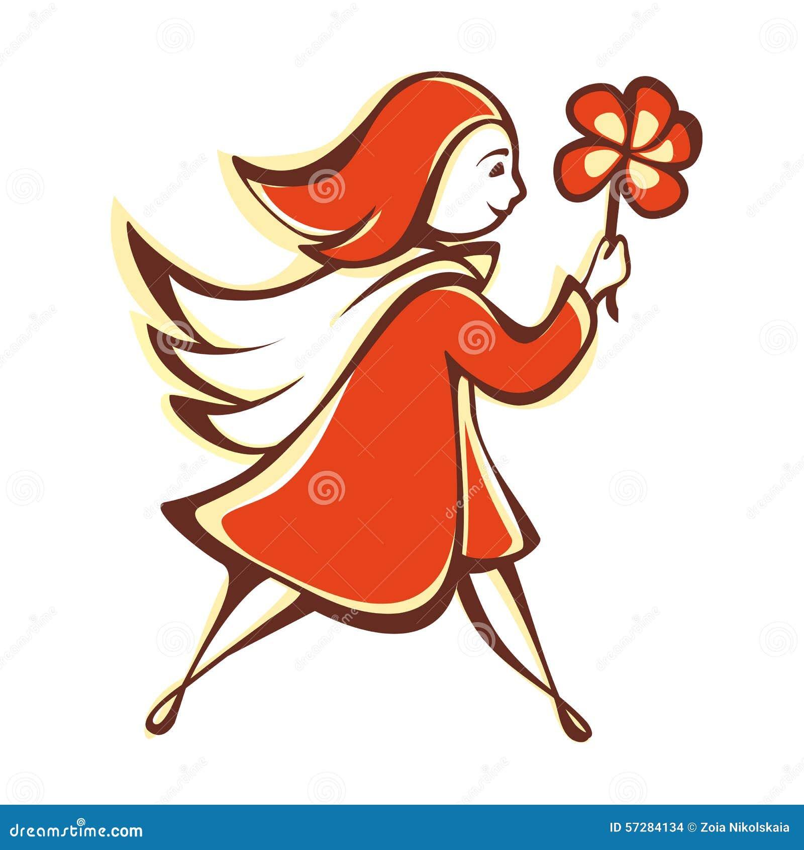 La muchacha con una flor anaranjada emblema pictogram icono
