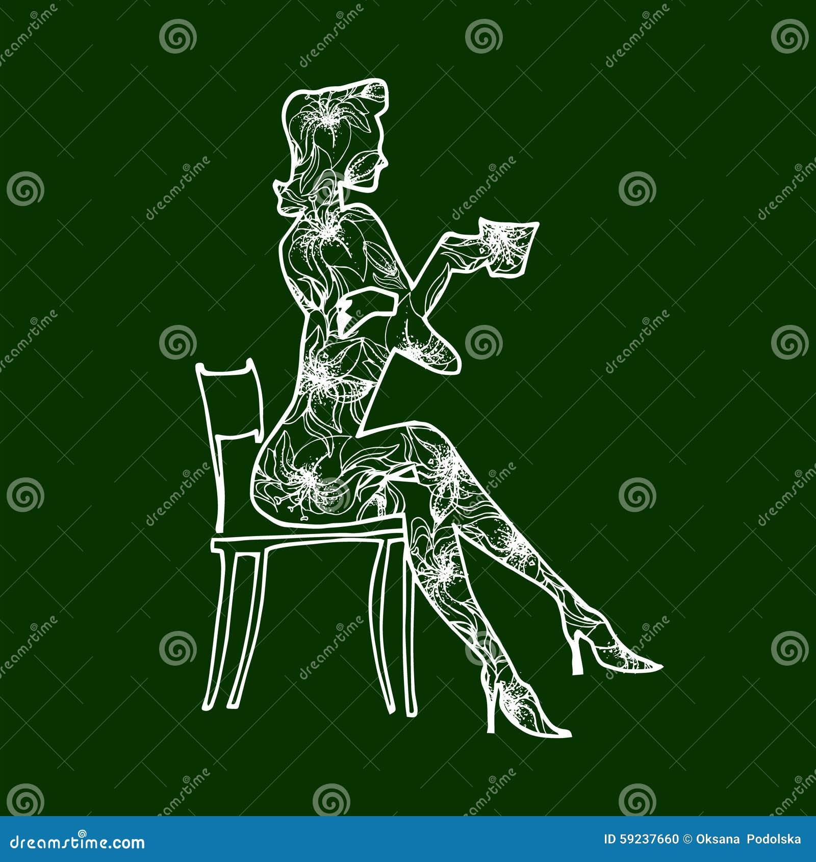 Download La Muchacha Del Ejemplo Bebe El Café De Una Taza Ilustración del Vector - Ilustración de especial, elegante: 59237660