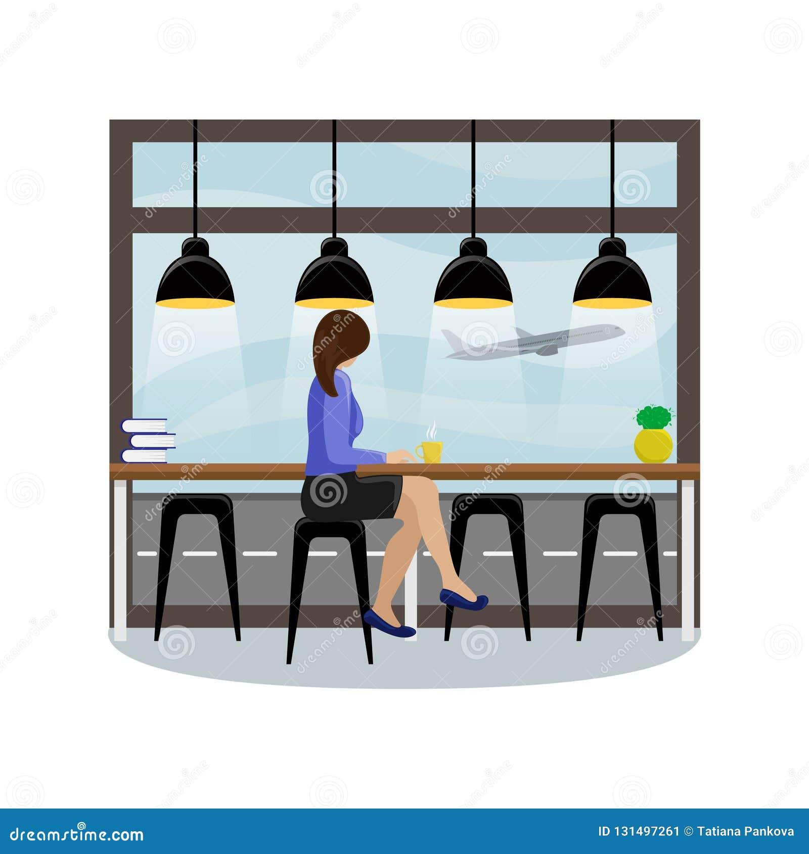 La muchacha detrás del contador de la barra en la ventana panorámica en el aeropuerto