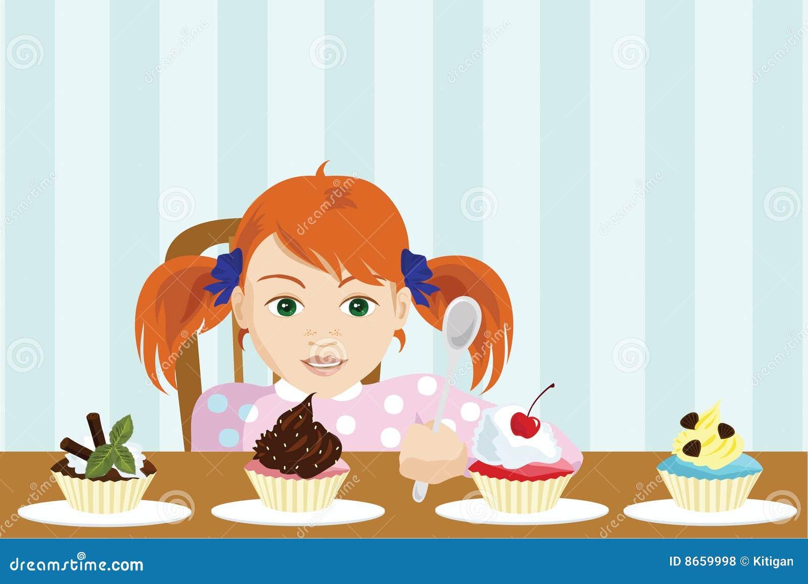 La muchacha elige una torta