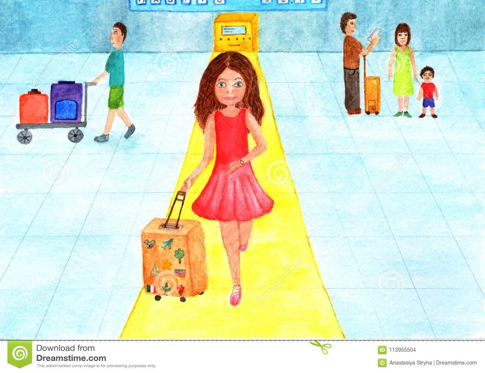 La muchacha en el aeropuerto está subiendo a un avión Ilustración de la acuarela