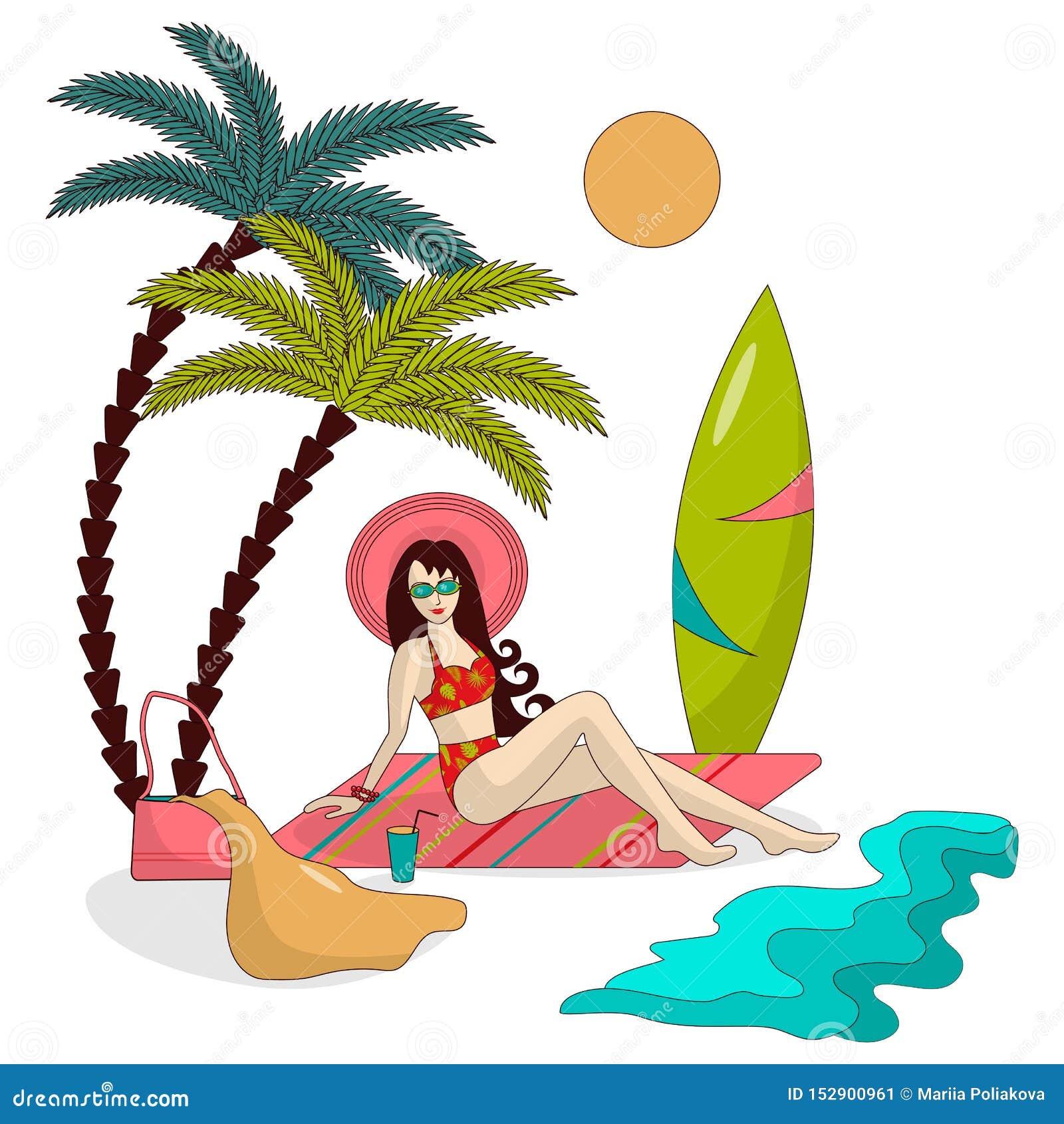 La muchacha en un sombrero y un traje de baño está descansando sobre la playa debajo de las palmeras, al lado del mar, hay una ta