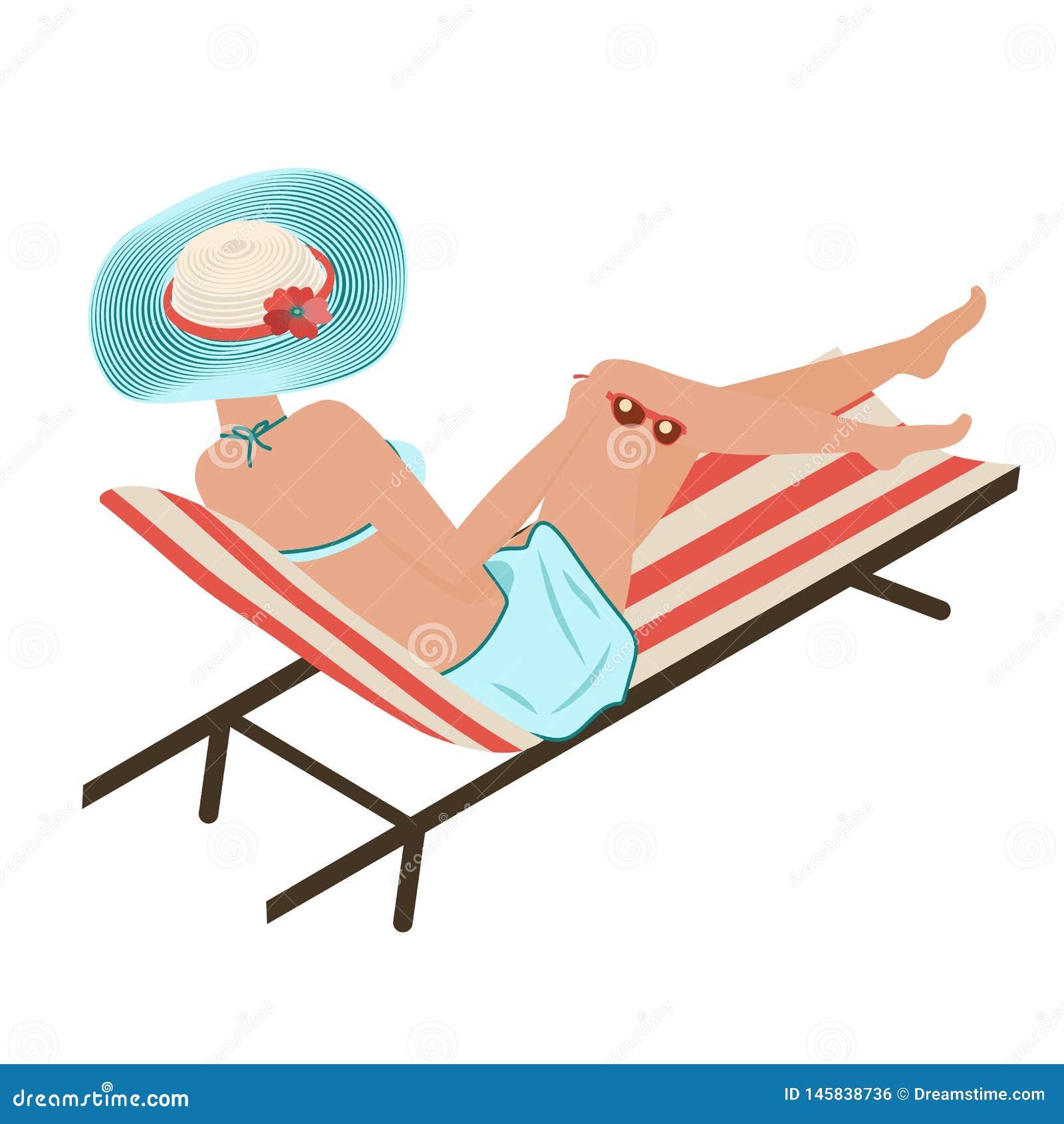La muchacha en verano en la playa toma el sol Una mujer miente en un shelong rayado en un sombrero rayado de moda Turquesa Panamá