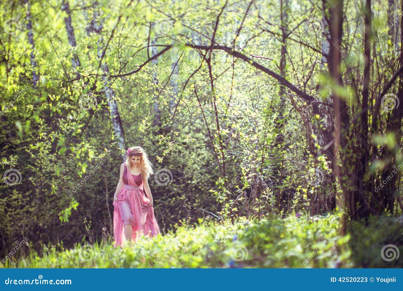 la muchacha en vestido de hadas camina en el bosque imagen de archivo imagen de cauc sico. Black Bedroom Furniture Sets. Home Design Ideas