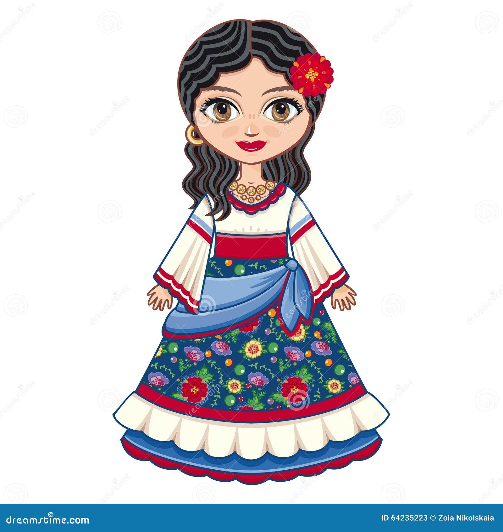 La Muchacha En Vestido Gitano Ropa Histórica Ilustración Del Vector