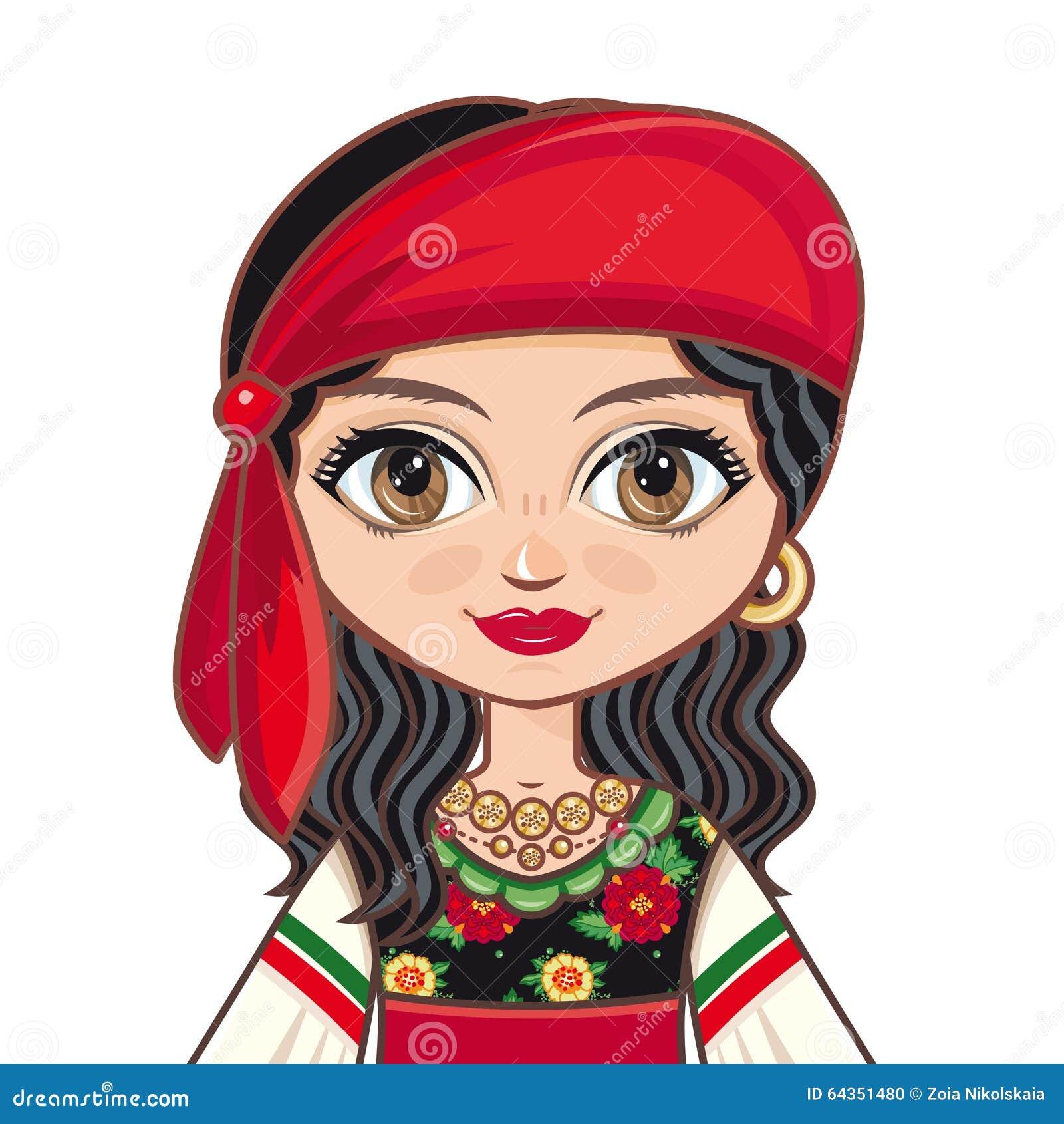 La Muchacha En Vestido Gitano Ropa Histórica Retrato Avatar