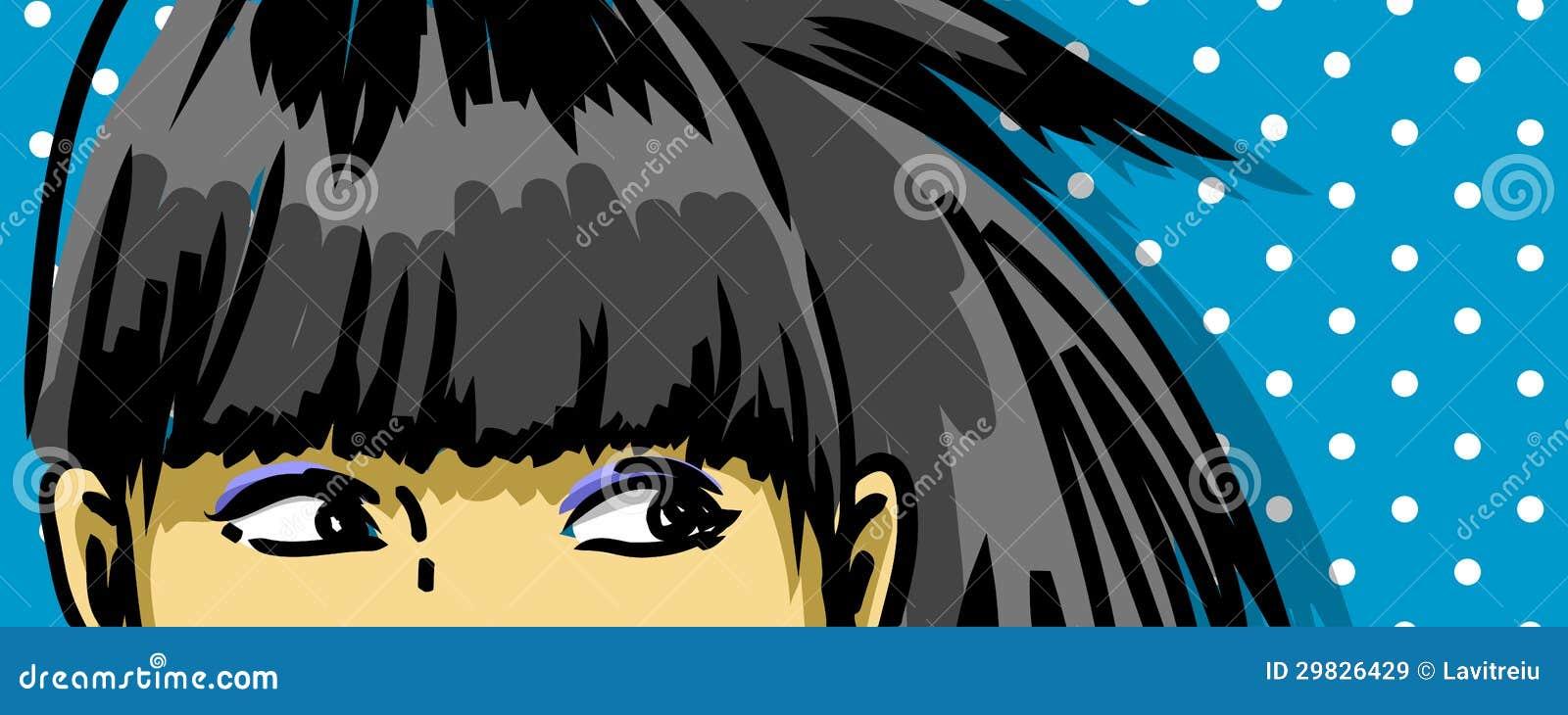 Ojos retros de la muchacha