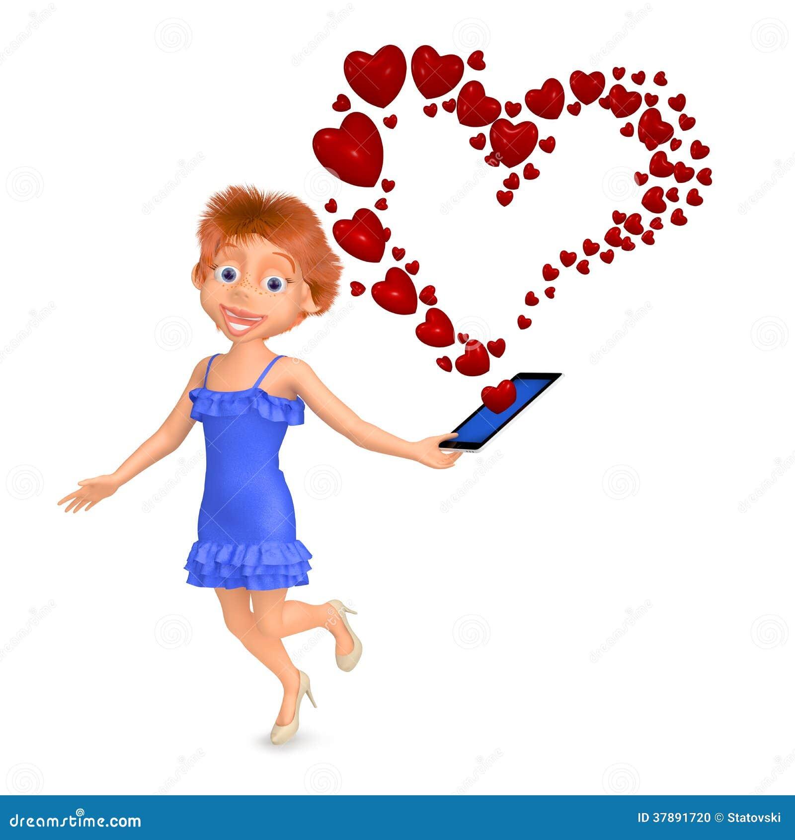 La muchacha recibió el mensaje como corazón por el teléfono