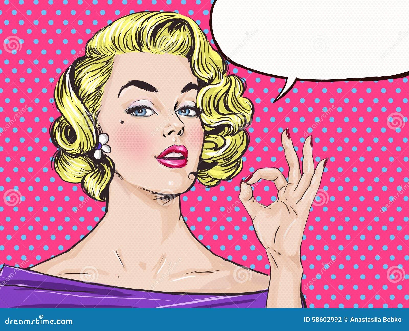 La muchacha rubia del arte pop está mostrando la muestra ACEPTABLE con la burbuja del discurso, Muchacha del arte pop