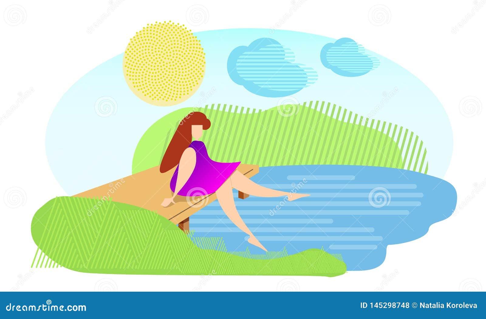 La muchacha se sienta en el puente cerca del r