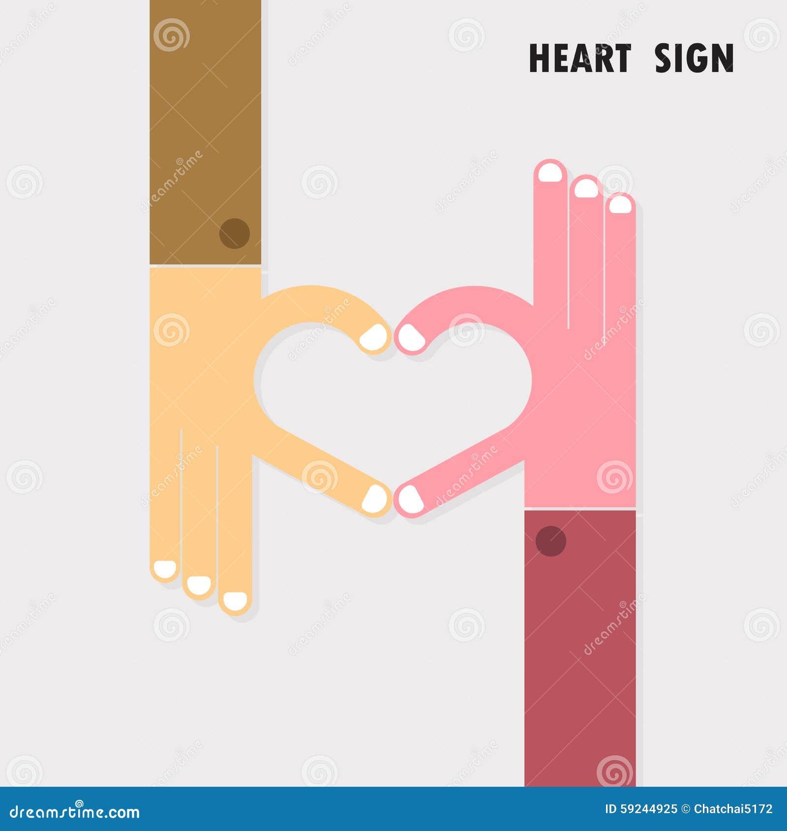 La muestra creativa de la mano y el logotipo abstracto del vector del corazón diseñan