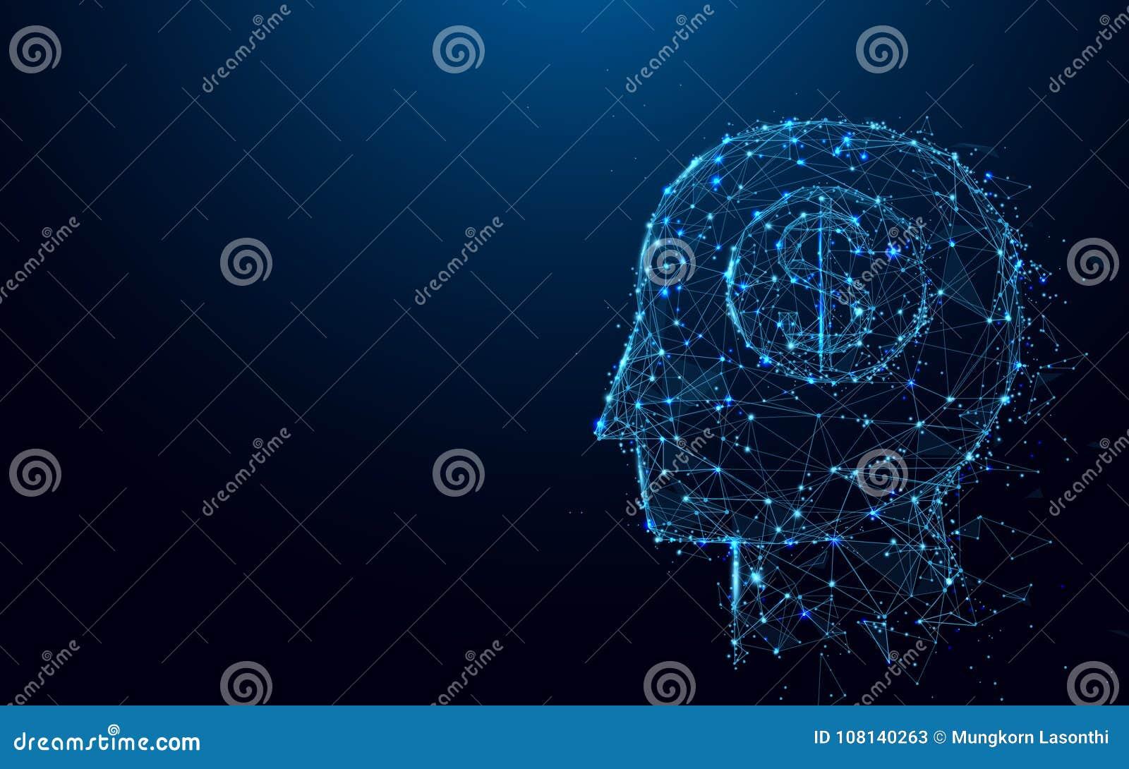 La muestra de dólar abstracto de la cabeza y del dinero forma las líneas y los triángulos, red de conexión del punto en fondo azu