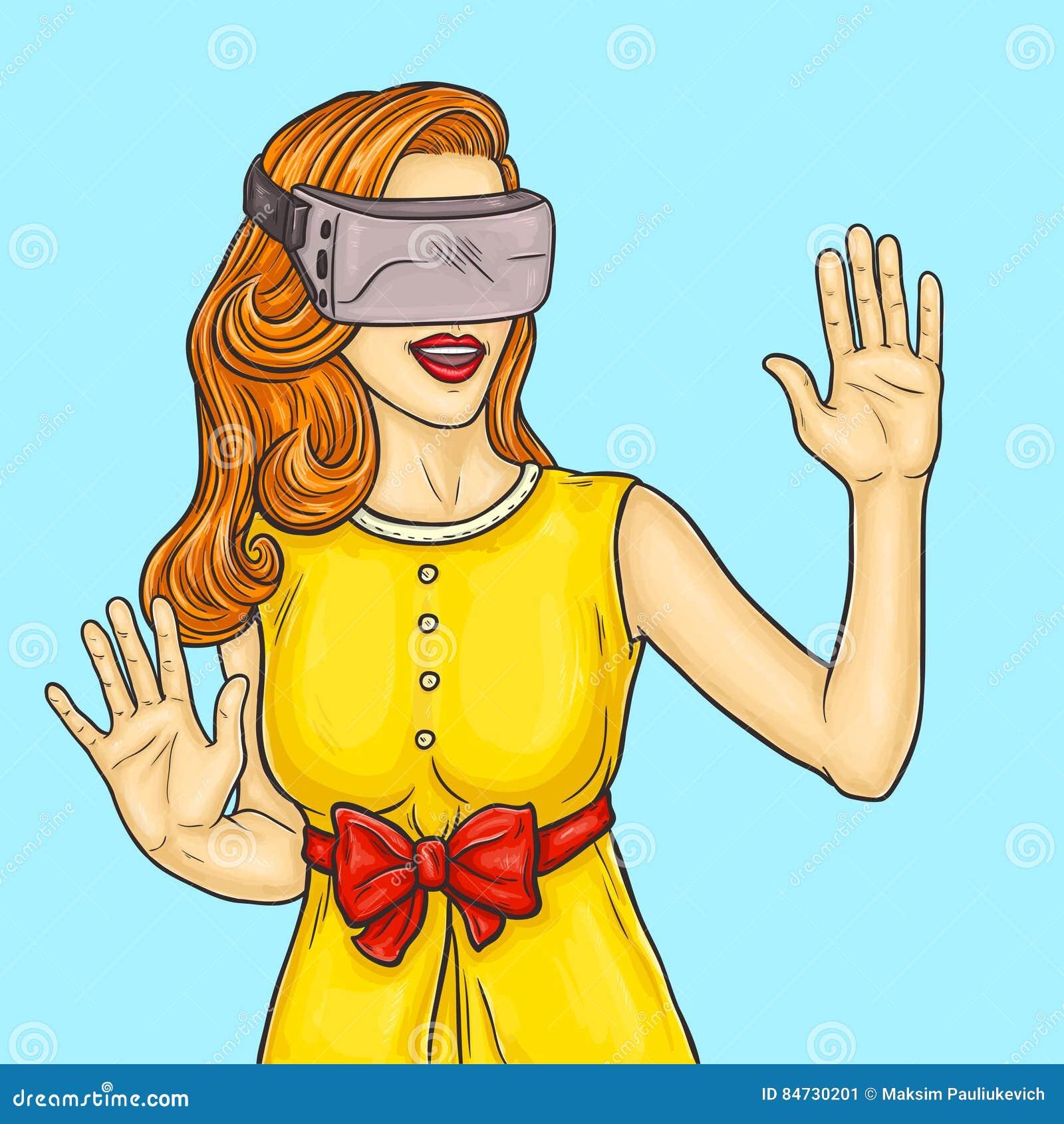 La mujer bastante joven del arte pop utiliza los vidrios de una realidad virtual