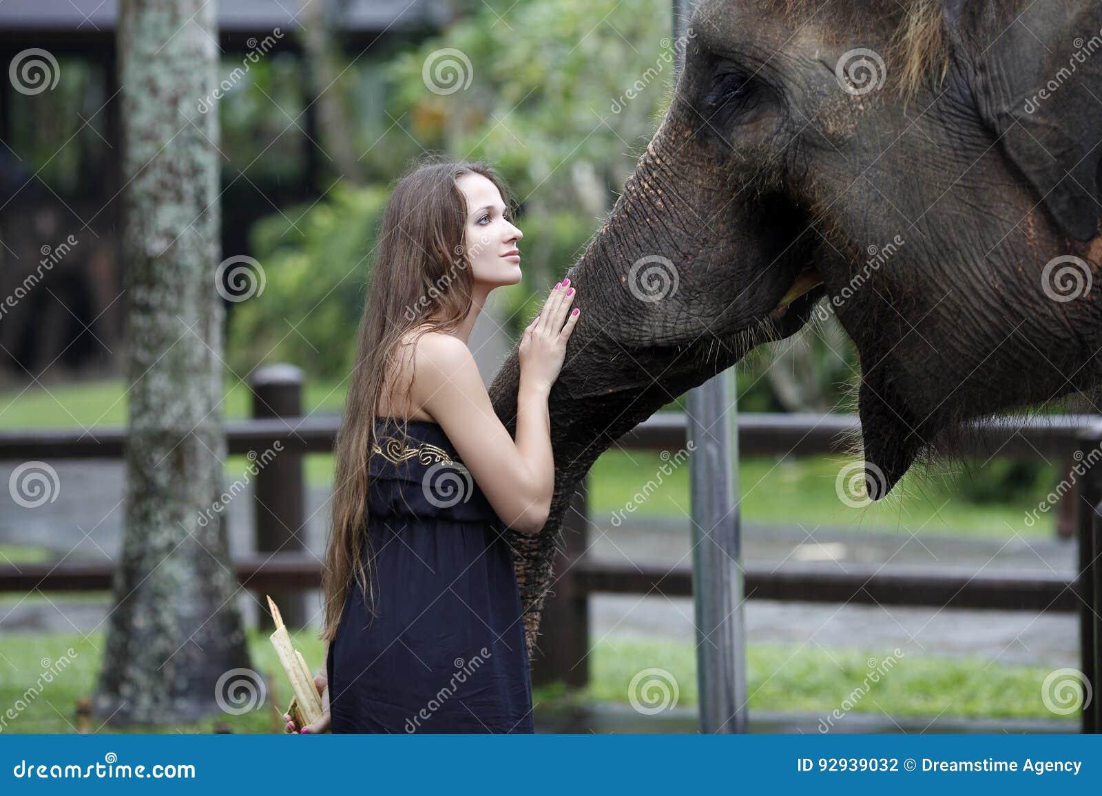 La mujer con el elefante, invitaciones, y le acaricia en el hocico, con