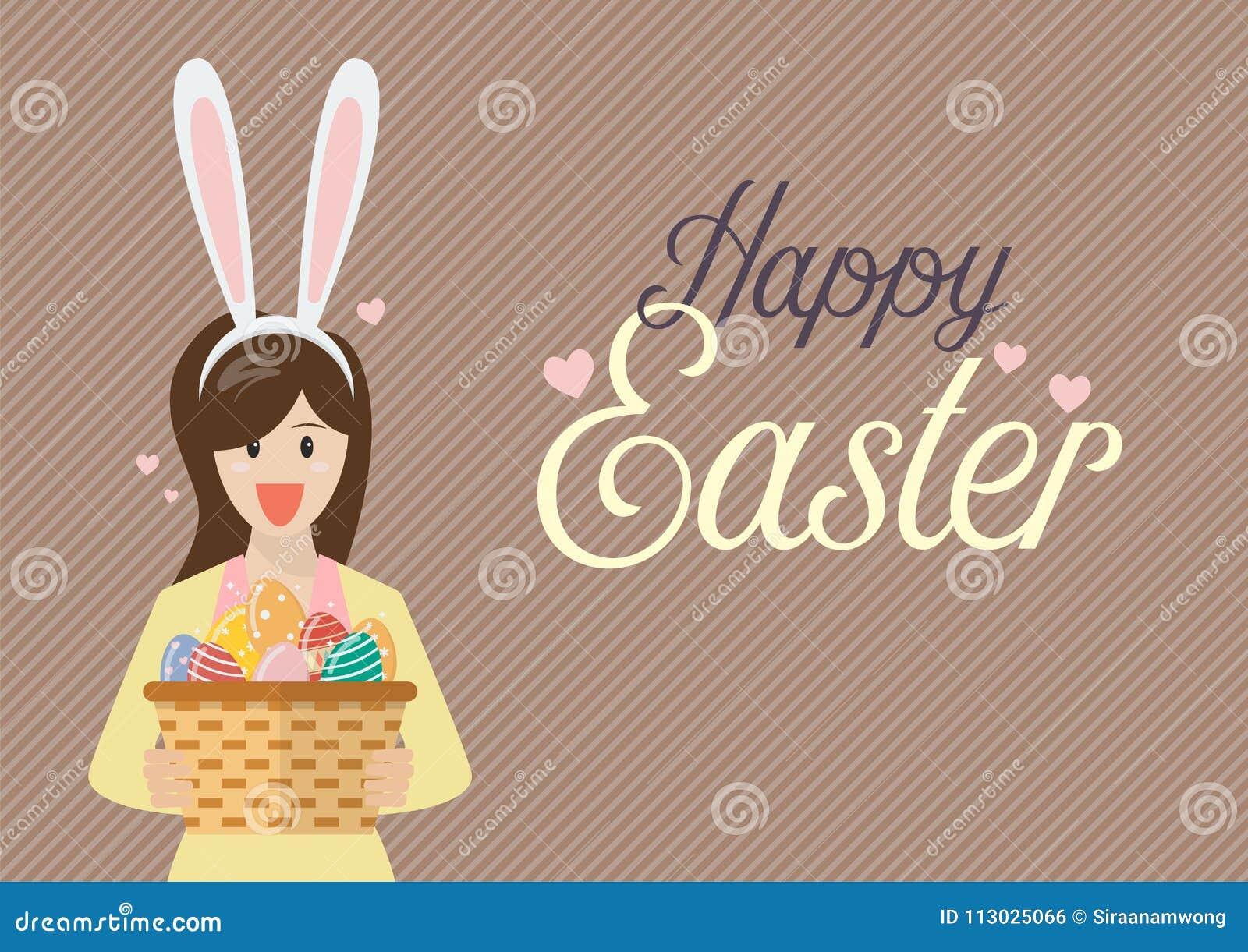 La mujer con los oídos del conejito enmascara sostener los huevos de Pascua en cesta