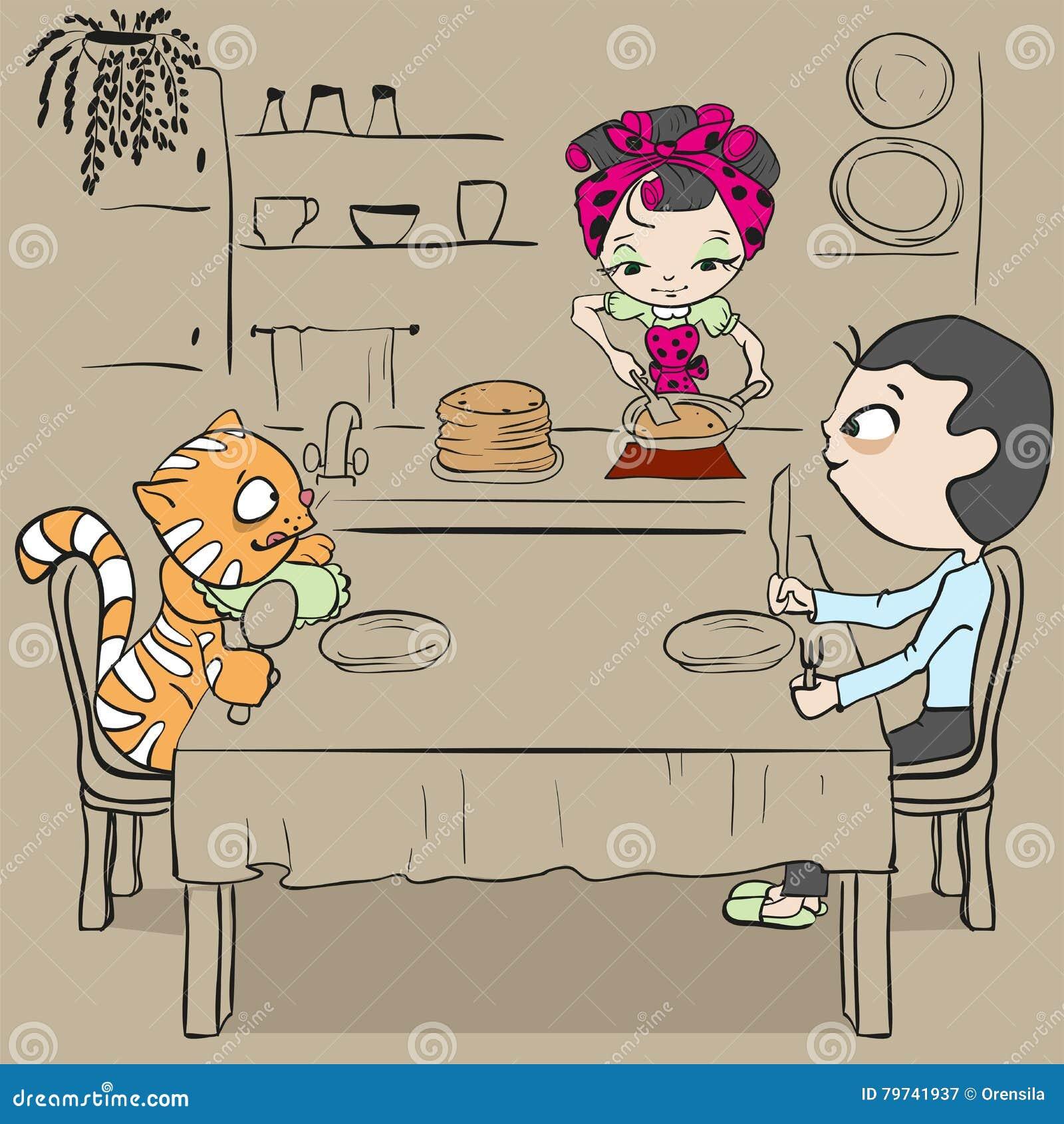 La mujer cuece las crepes Cena que espera del gato y del hombre para