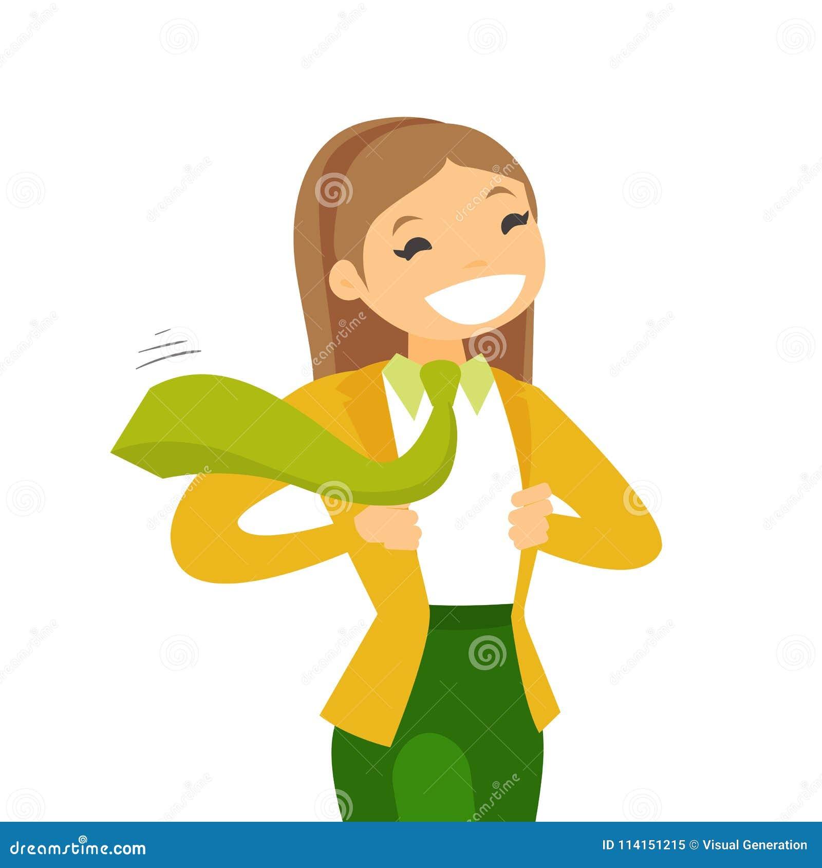 La mujer de negocios potente blanca caucásica feliz joven que abre chaqueta  le gusta el super héroe Concepto de super héroe y de poder Ejemplo de la ... d1b10c209a7a7