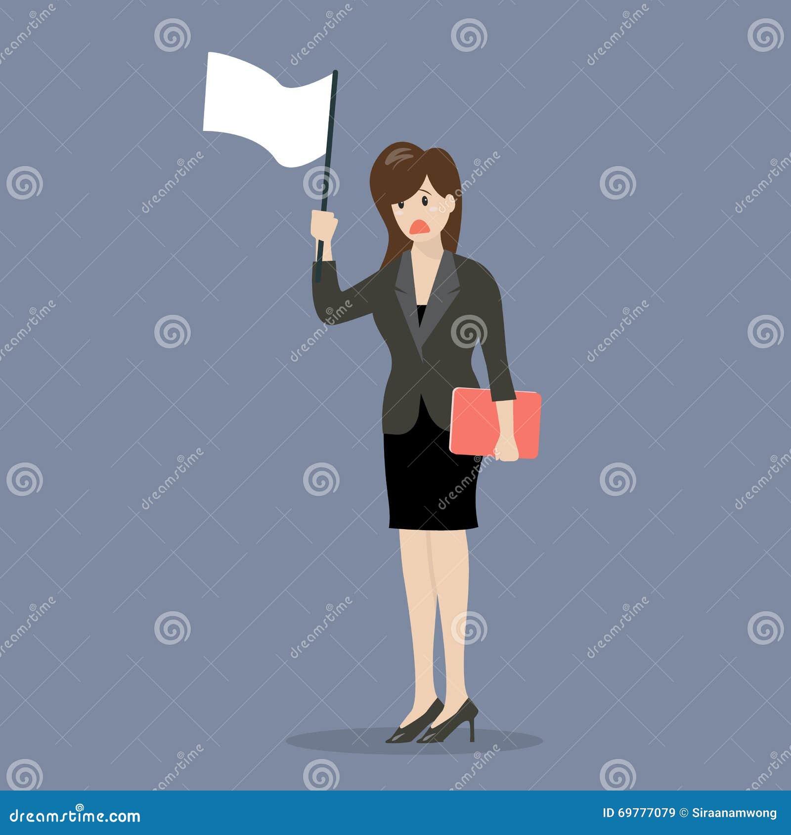 La mujer de negocios sostiene la bandera blanca de la entrega