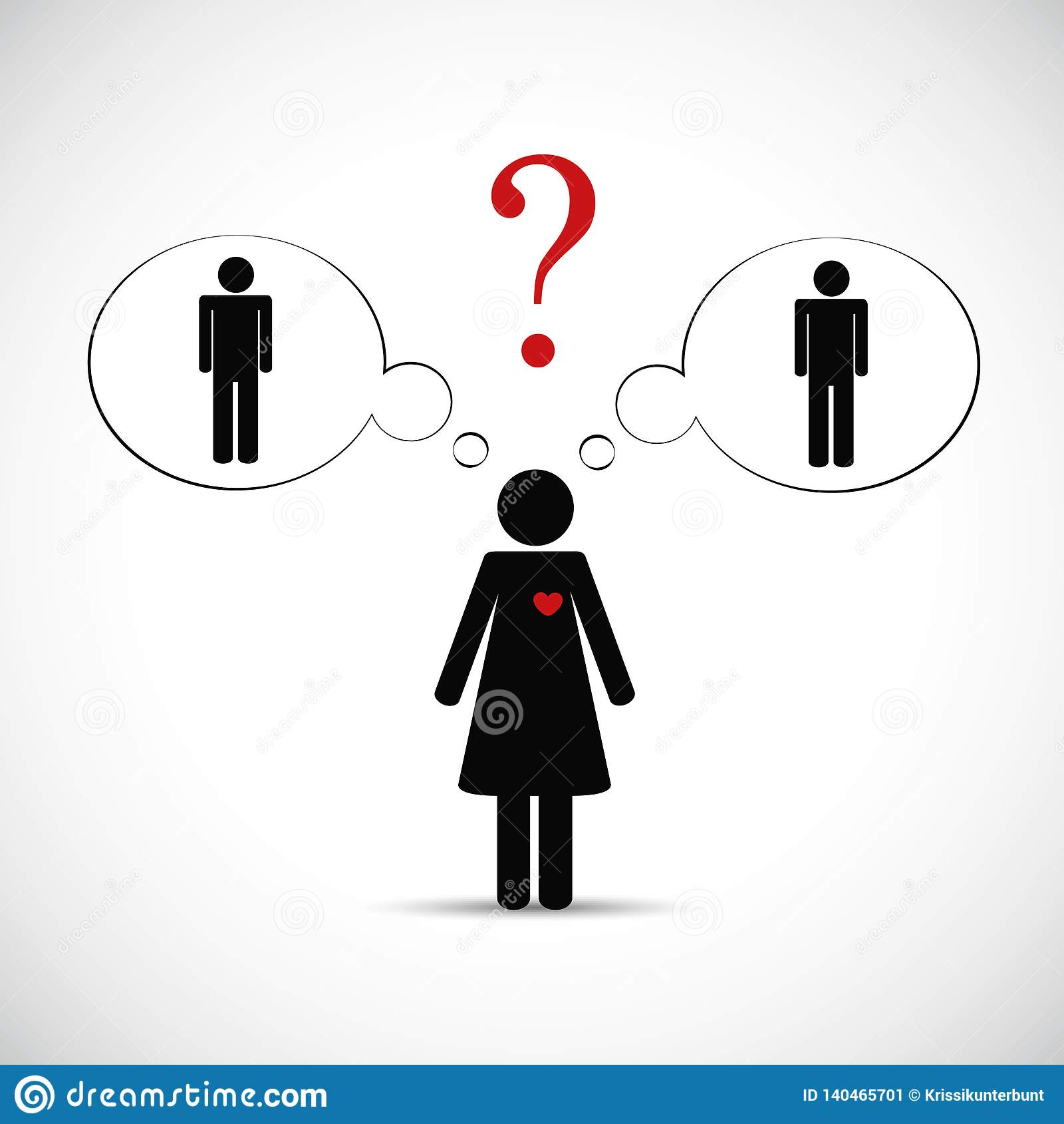 La mujer del socio del tramposo piensa el pictograma de cerca de dos hombres