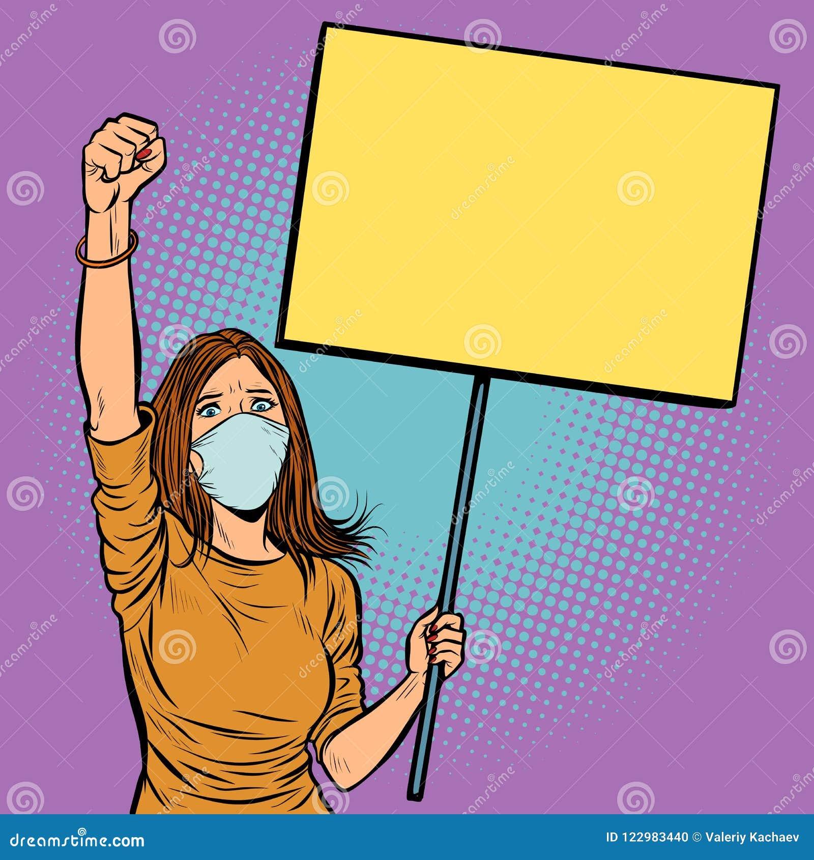 La mujer en máscara médica protesta con un cartel