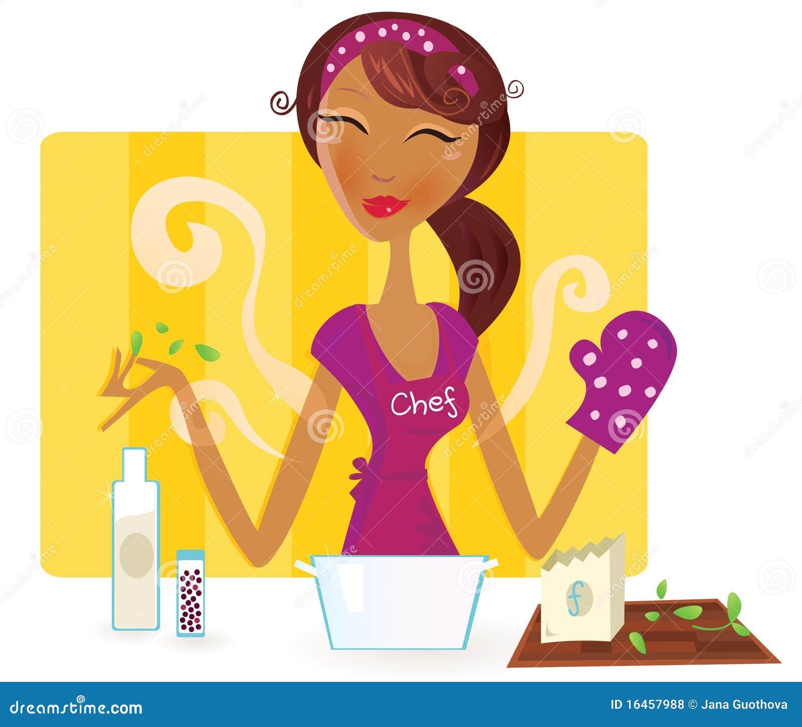 La mujer est cocinando la comida en la cocina - Fotos de comodas ...