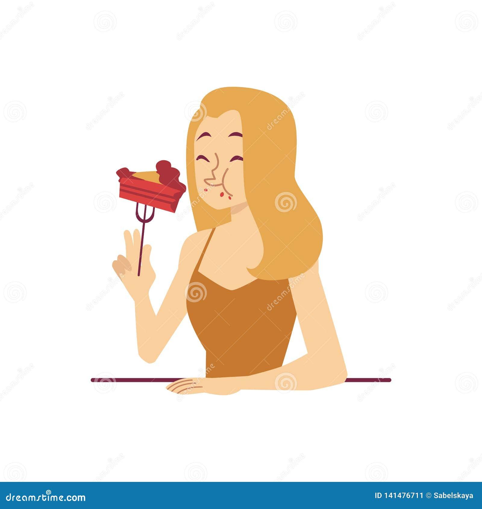 La mujer está comiendo el pedazo de estilo de la historieta de la bifurcación del postre de la tenencia de la torta