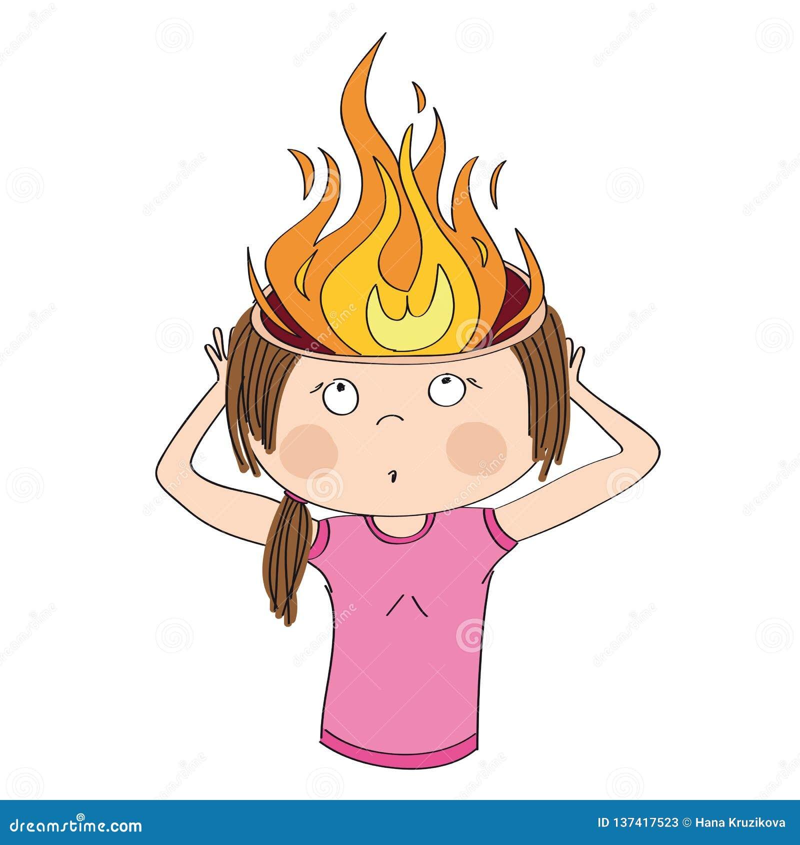 La mujer está llevando a cabo su cabeza ardiente Llamas en vez del cerebro Concepto del trabajo excesivo o del dolor de cabeza