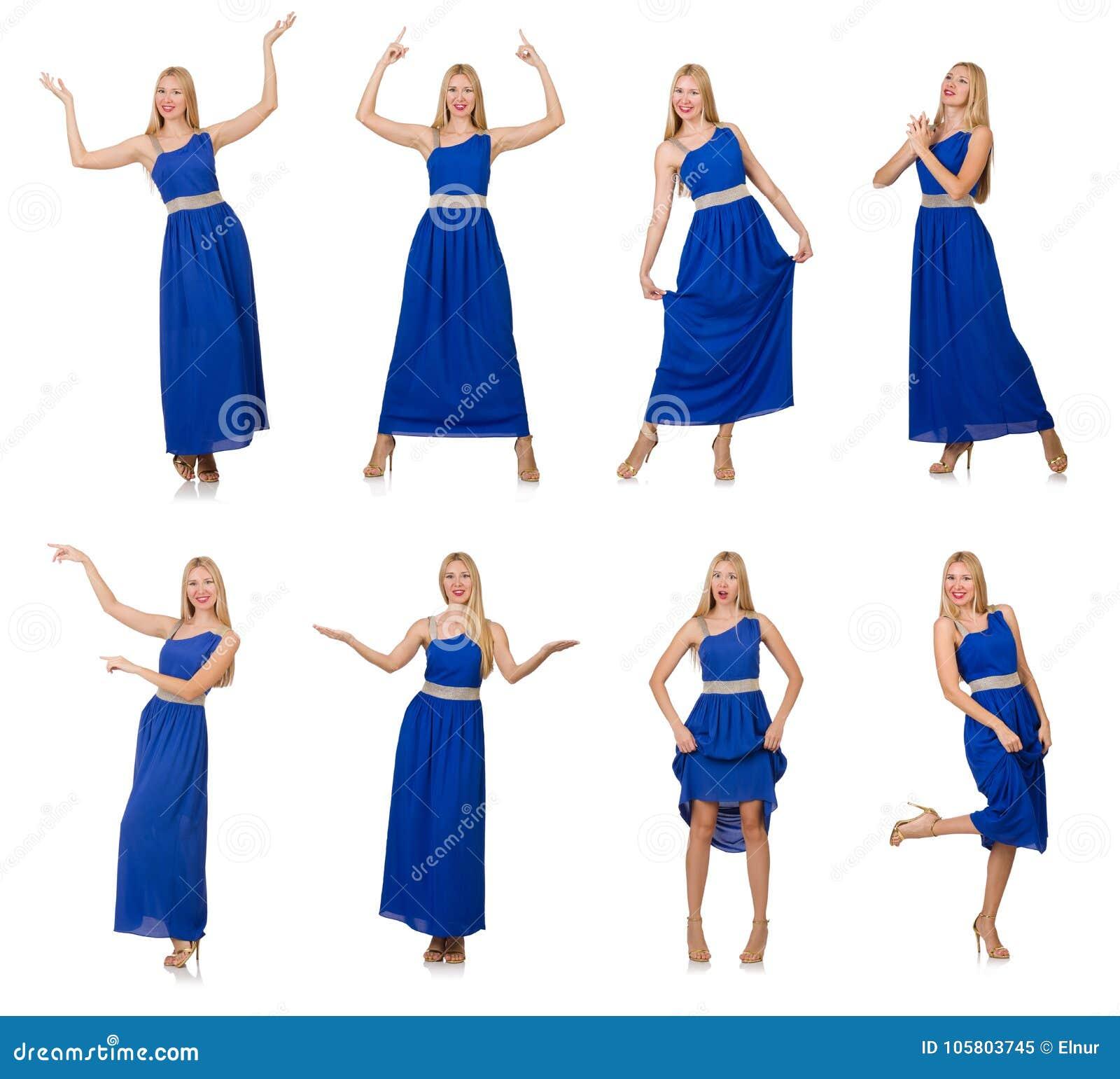 La Mujer Hermosa En El Vestido Azul Largo Aislado En Blanco