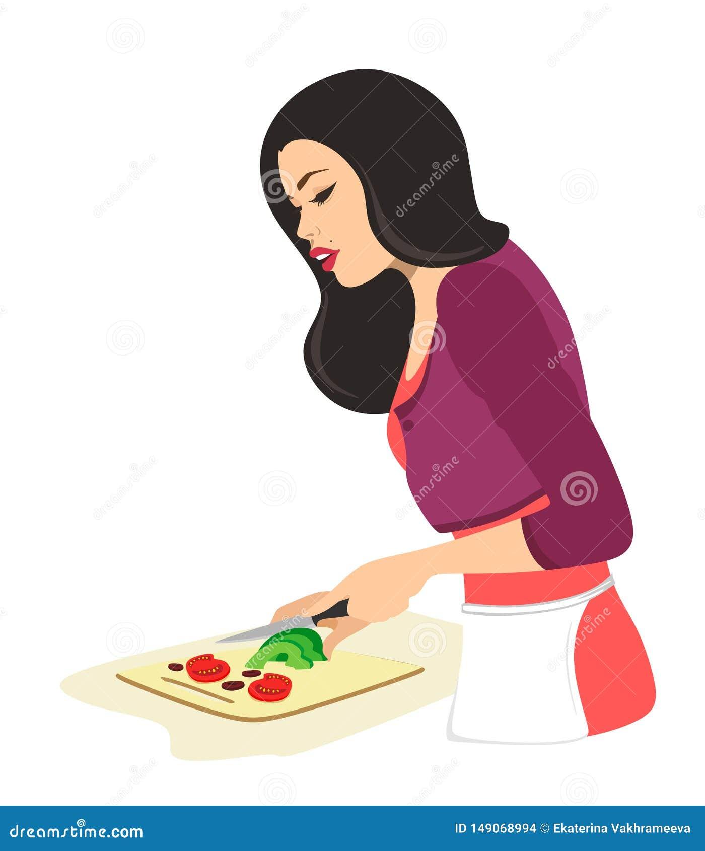 La mujer hermosa est? cocinando E Ilustraci?n del vector en el fondo blanco Ama de casa