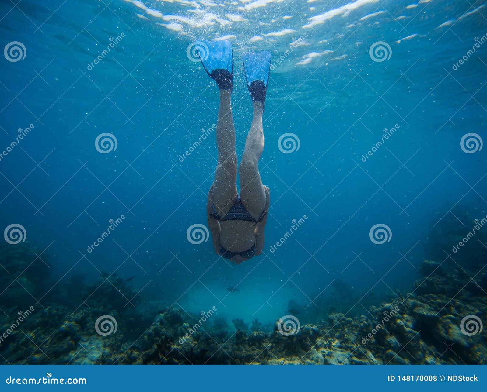 La mujer joven de Freediver nada bajo el agua con el tubo respirador y las aletas