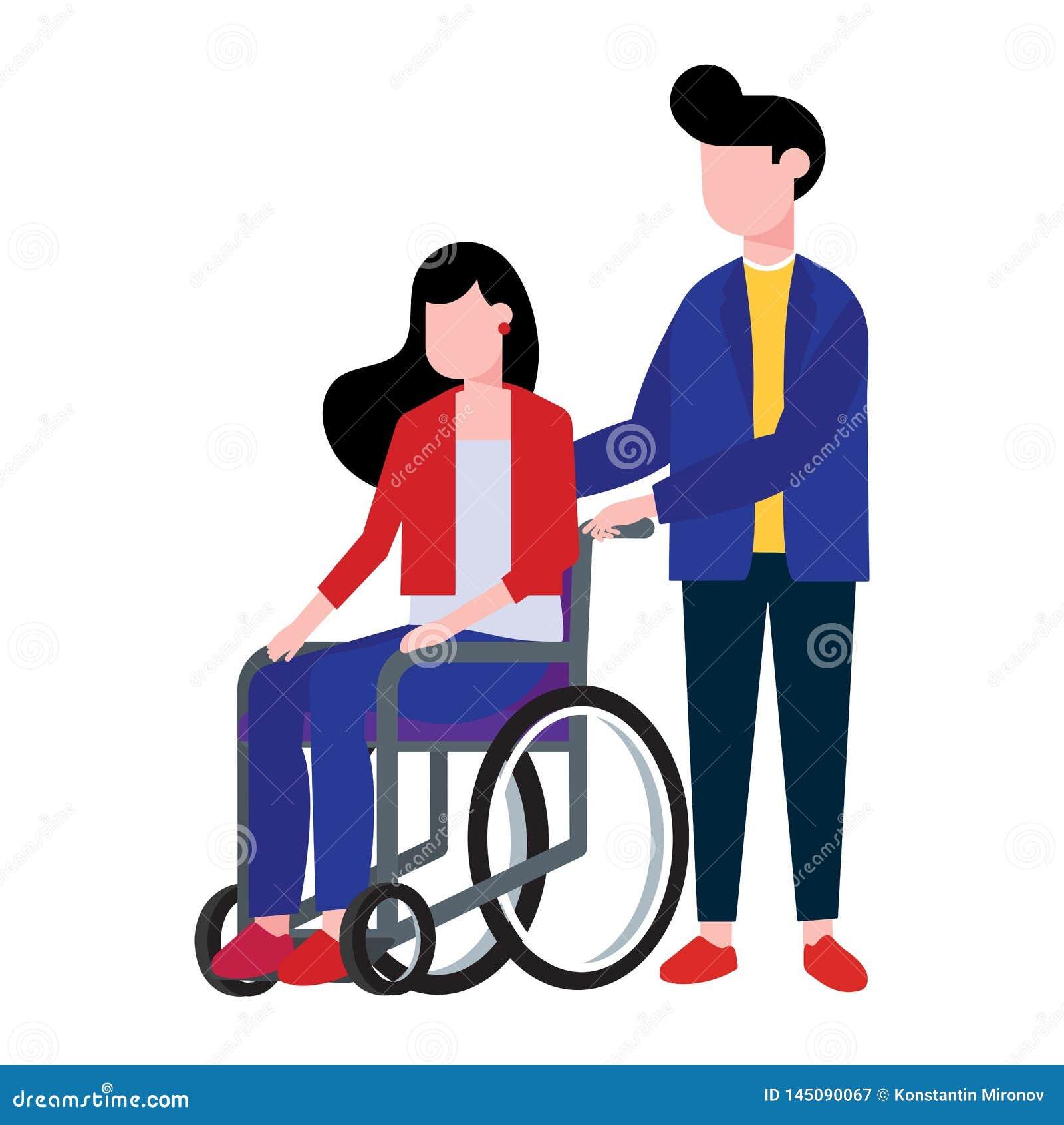 La mujer joven que se sienta en una silla de ruedas y el ayudante masculino del muchacho la sostienen