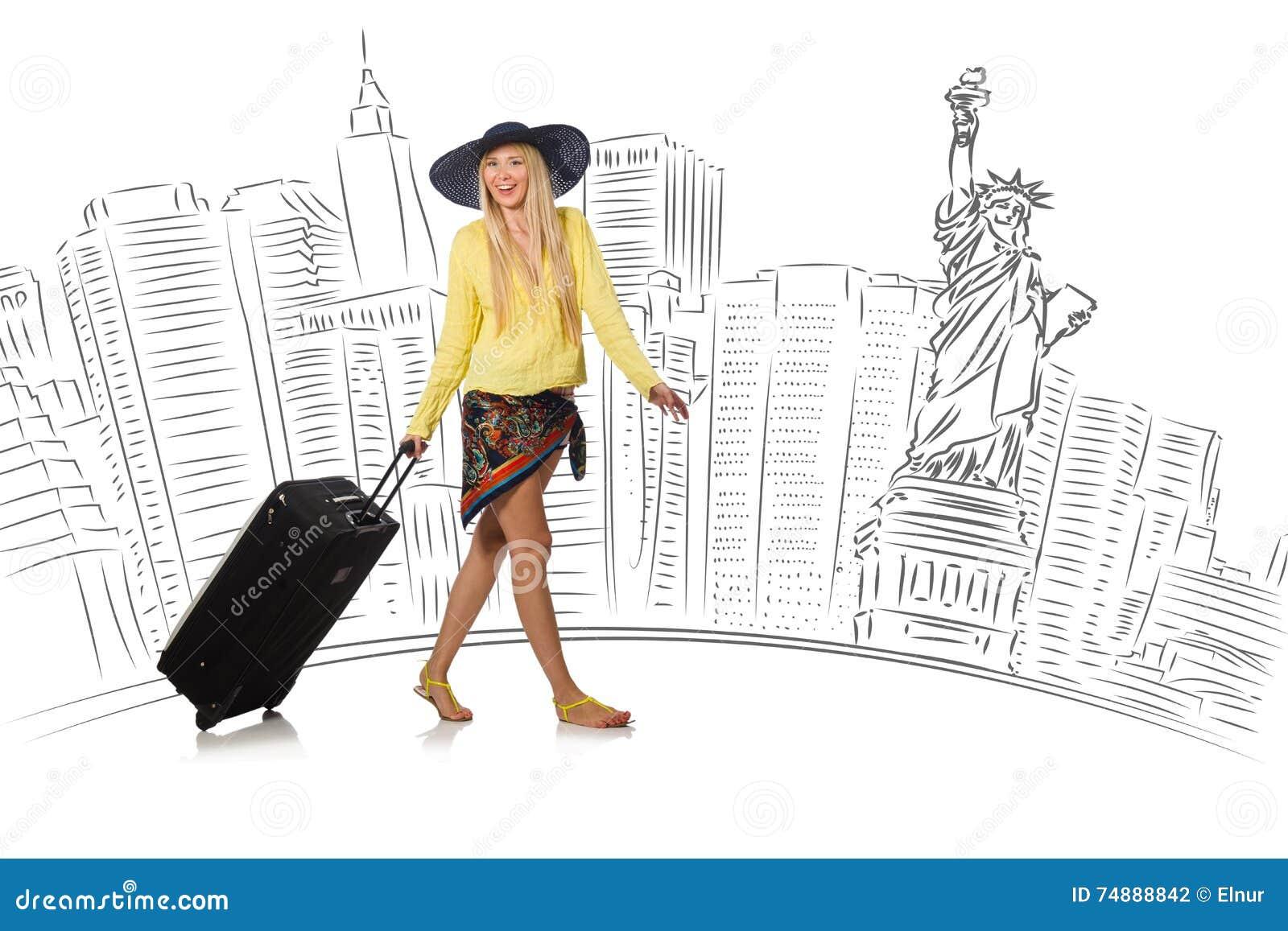 La mujer joven que viaja a los E.E.U.U.