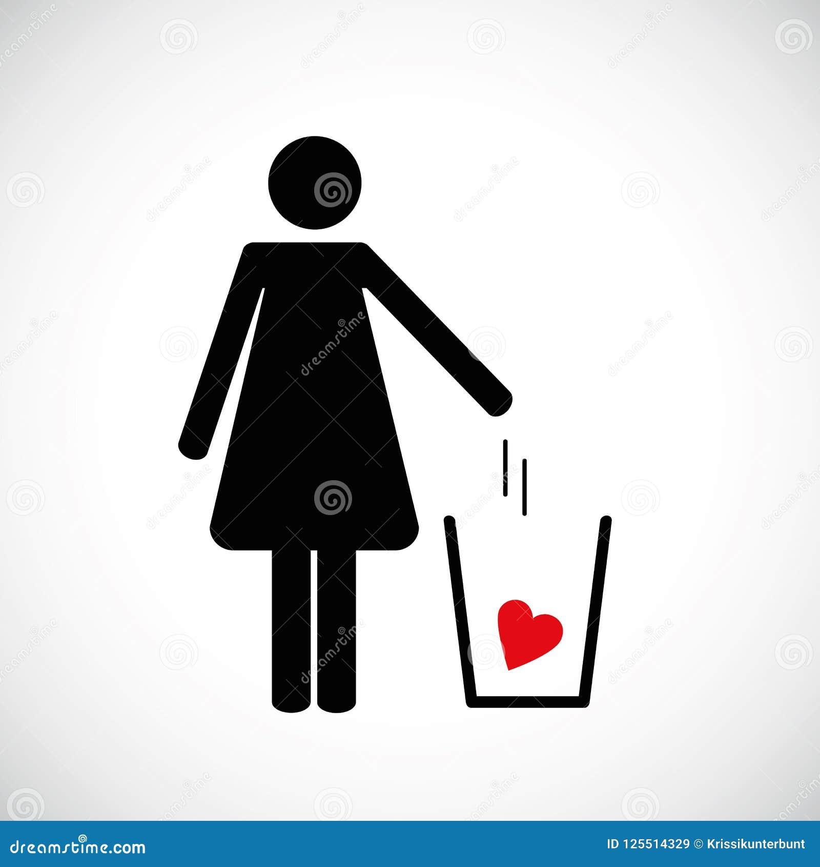 La mujer lanza el corazón en el icono del pictograma de la basura