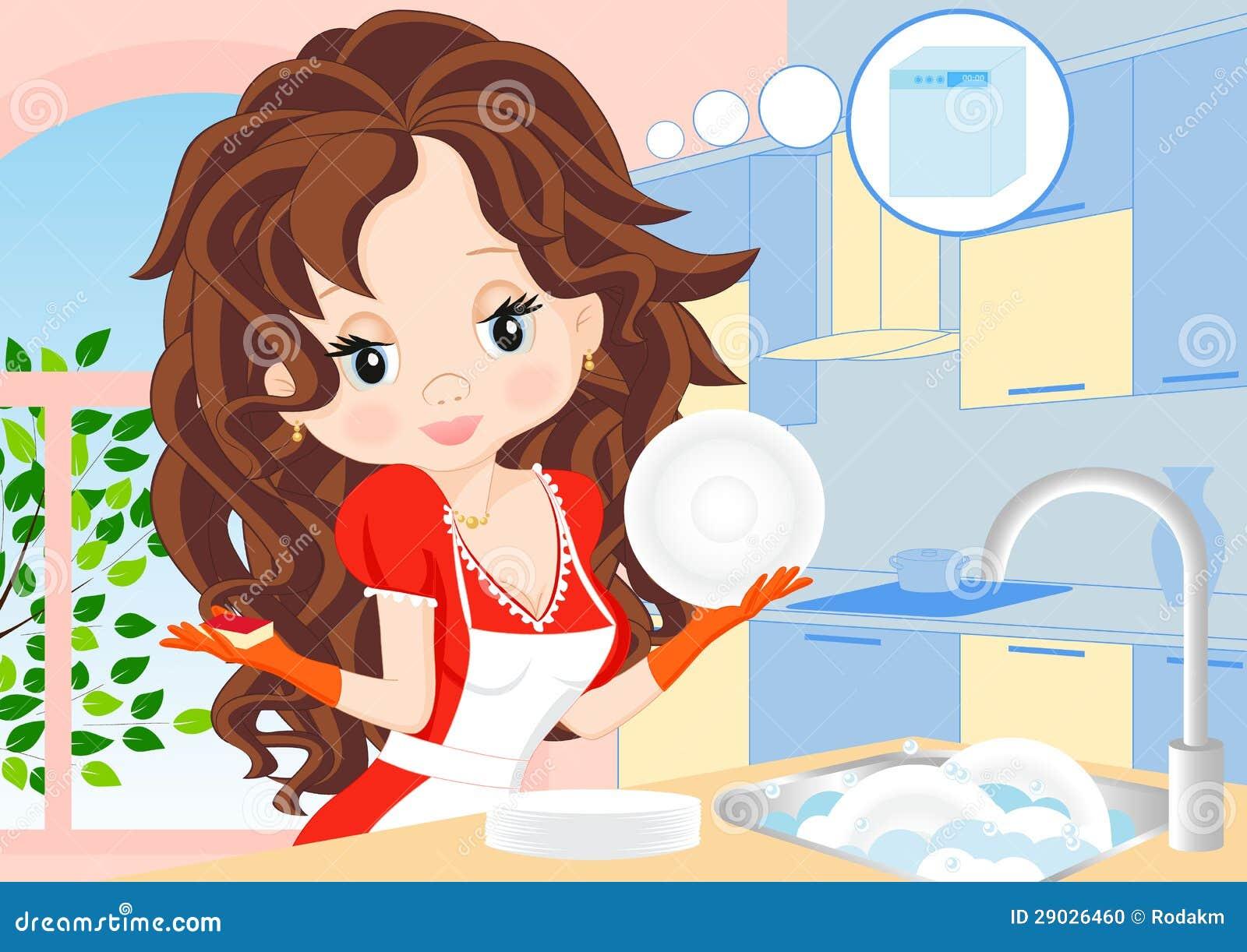 La Mujer Limpia Los Platos En La Cocina Ilustracion Del Vector