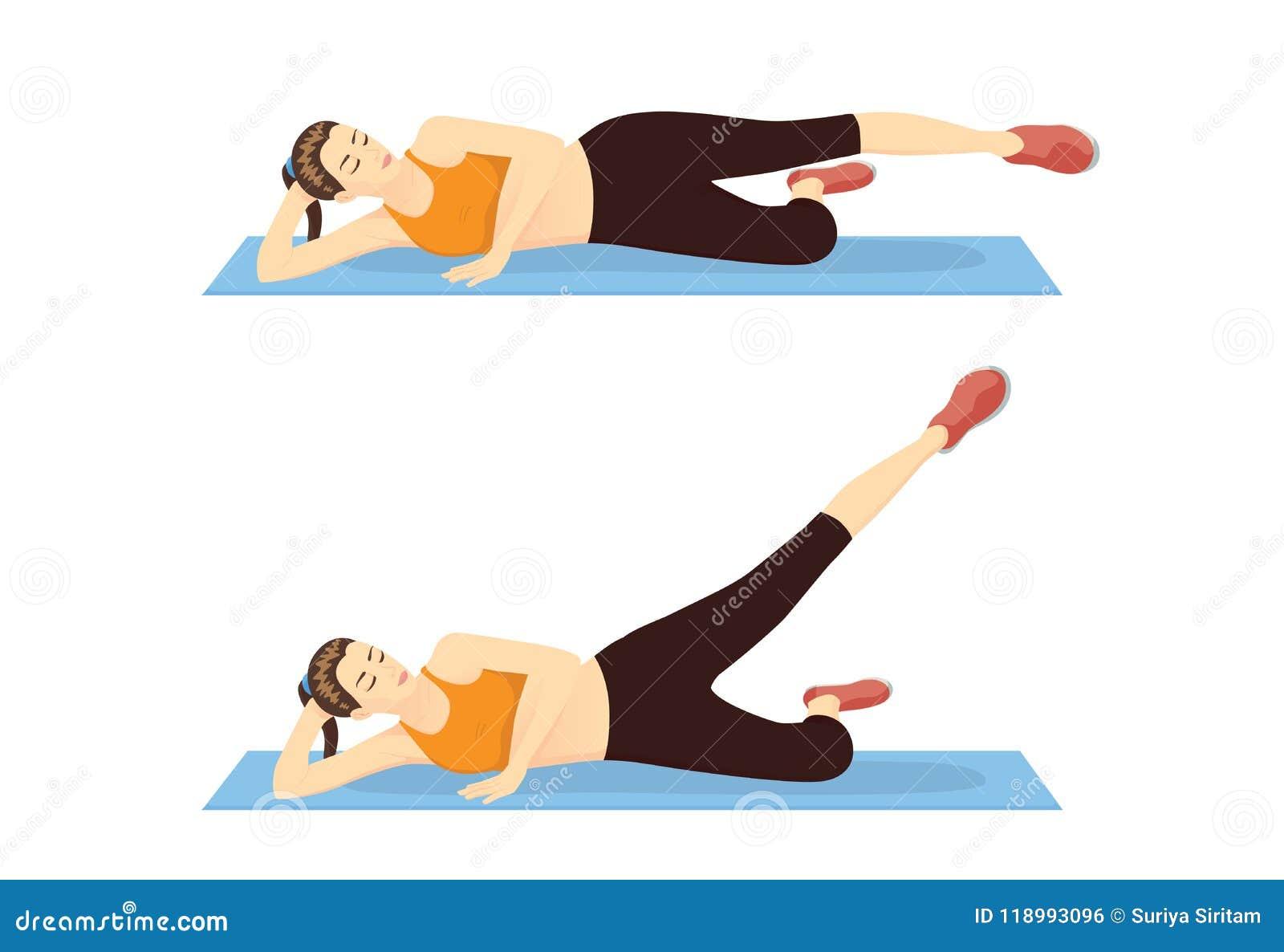 La mujer que muestra el paso del entrenamiento del muslo con la recto-pierna aumenta al exterior