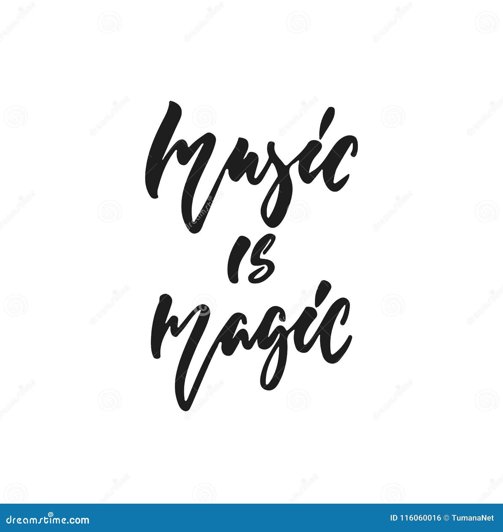 La musique est magique - citation tirée par la main de lettrage d isolement sur le fond blanc Illustration de vecteur d encre de