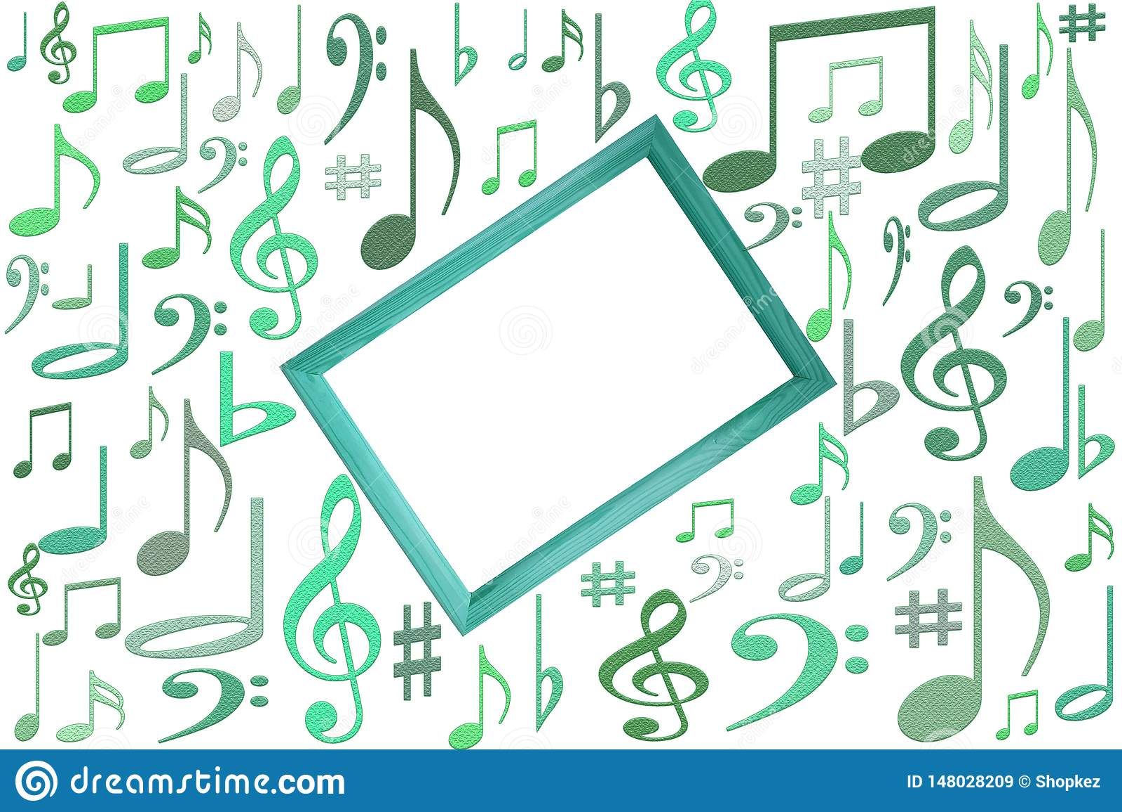 La musique note la maquette sur le fond blanc avec le cadre en bois au centre avec l espace libre de copie de vlank