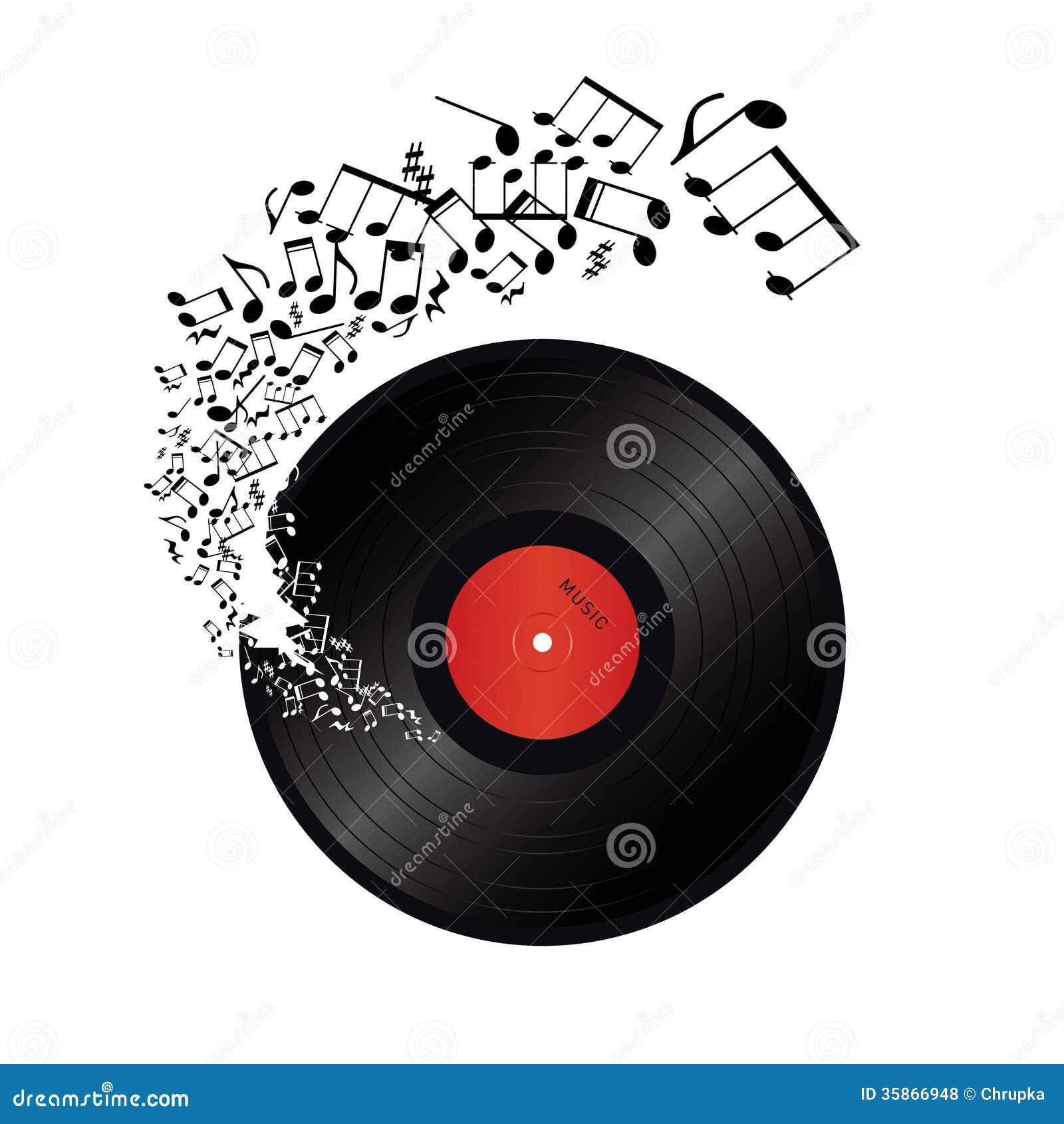 La Musique Note Sortir Du Trou Dans Le Vinyle Illustration
