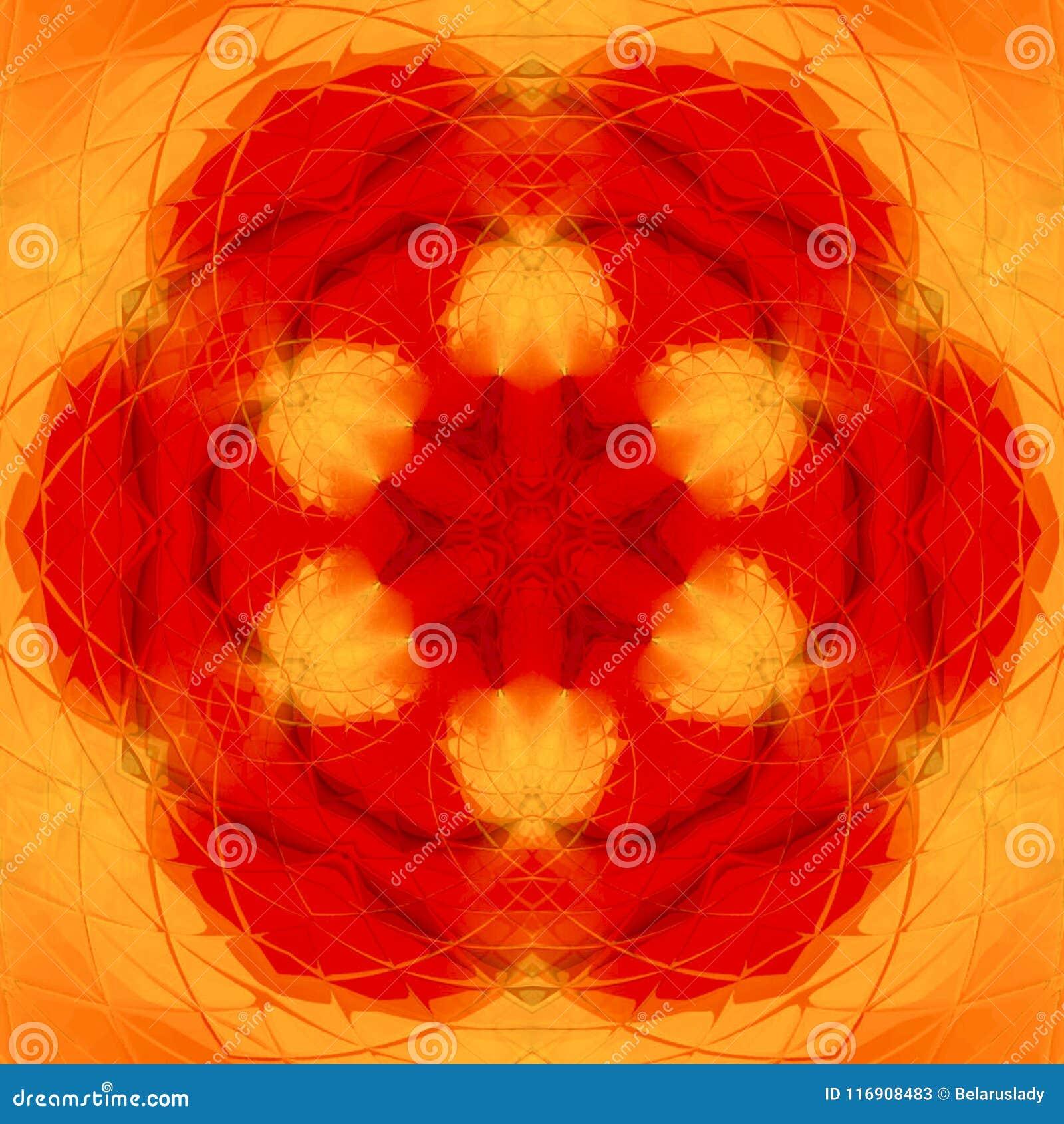 La naranja abstracta pintó el caleidoscopio, imagen de la mandala del fuego