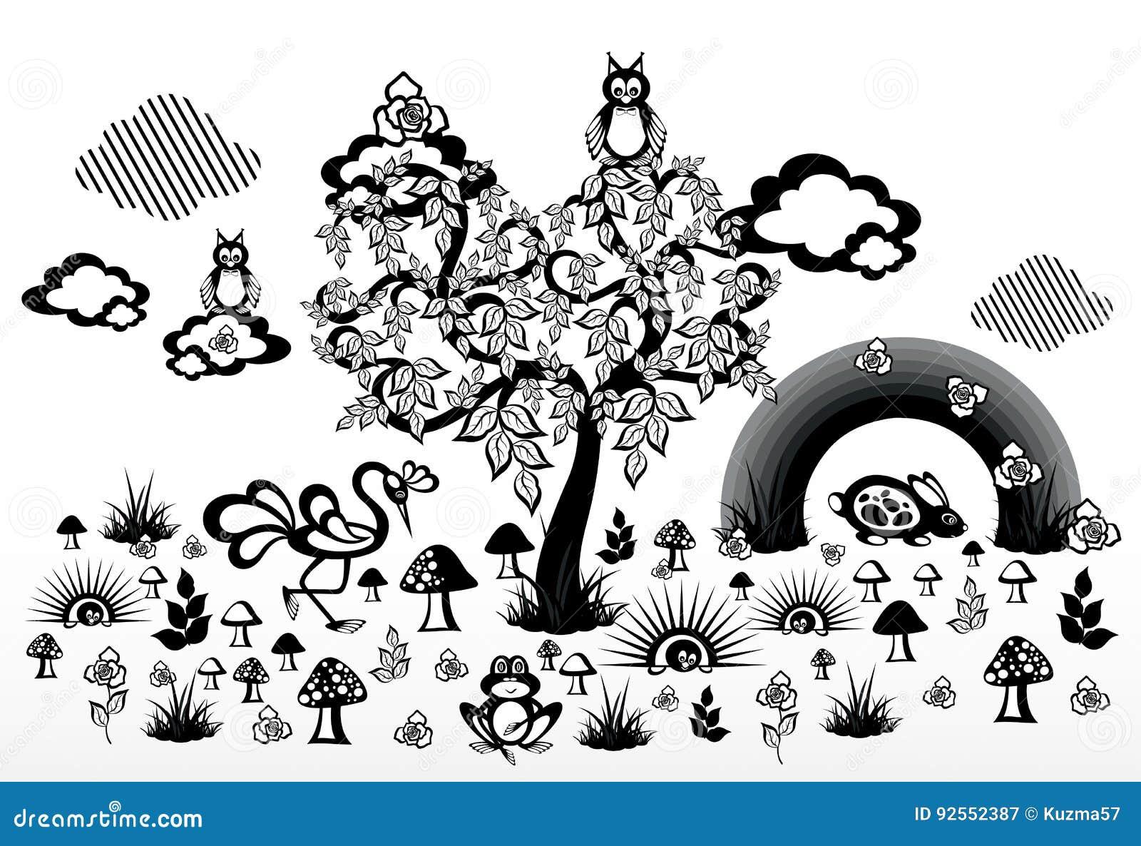 La natura astratta Legno e funghi Piante ed animali Rainbow e nubi