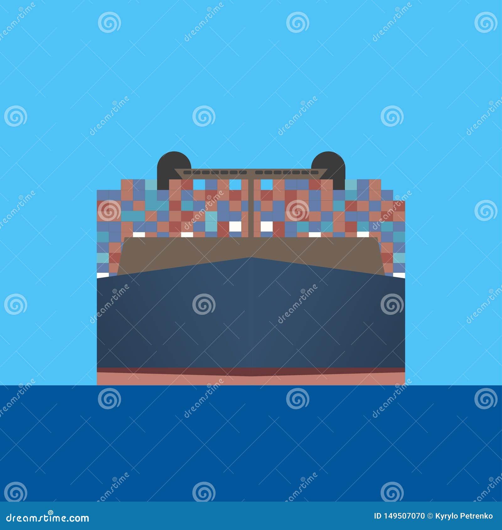 La nave porta-container traversa attraverso il mare blu