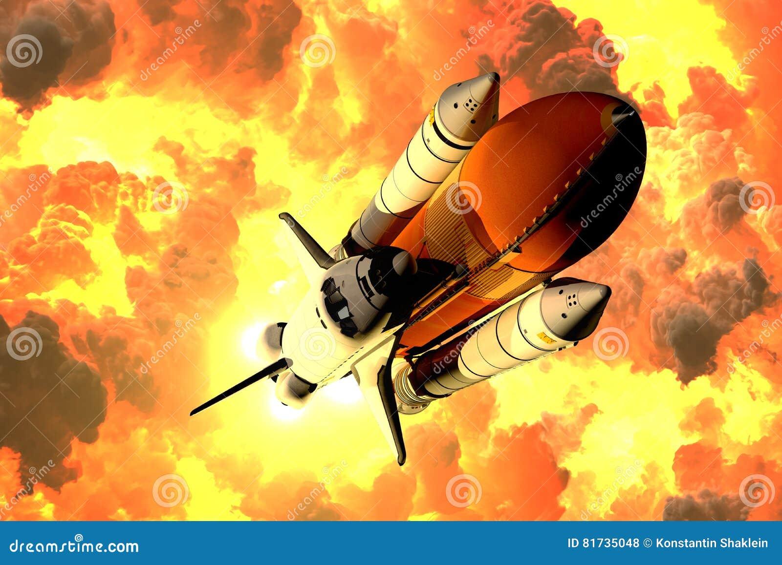 La navette spatiale décolle dans les nuages du feu