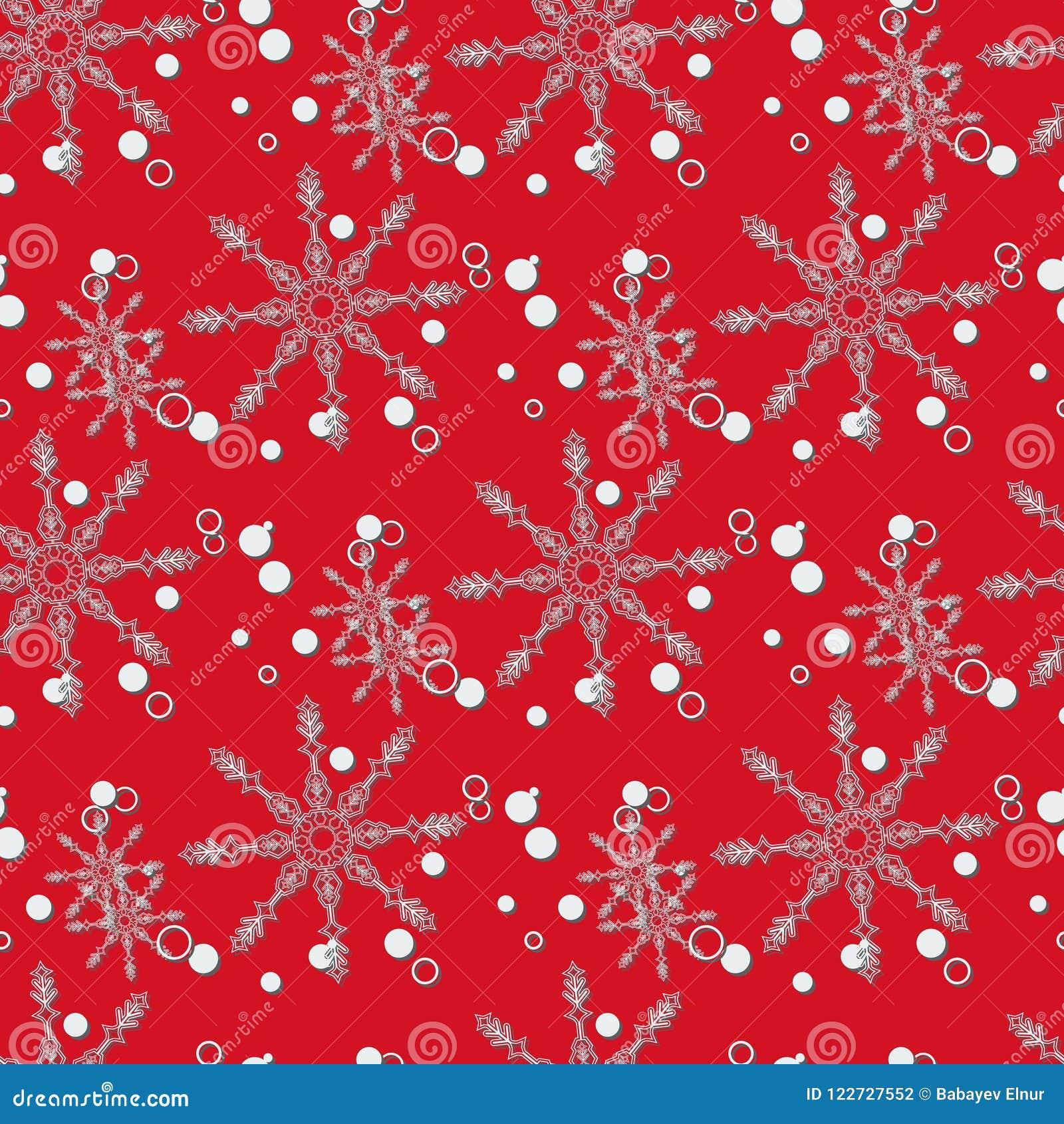 La Navidad abstracta y Año Nuevo inconsútiles en fondo rojo Modelo del copo de nieve Ilustración EPS 10 del vector